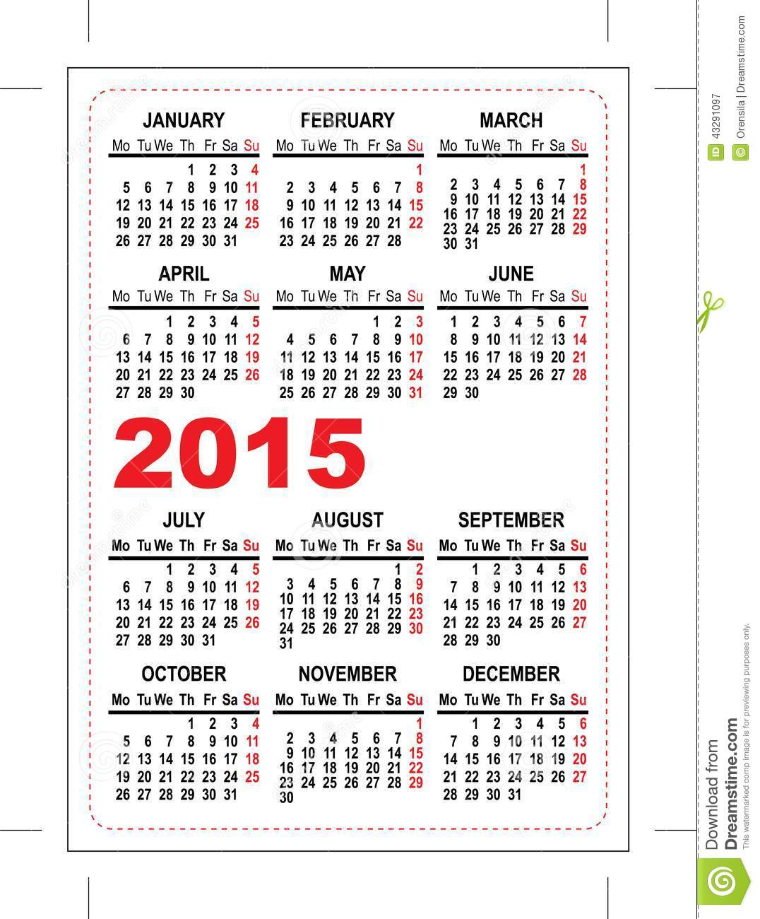 pocket schedule template - pocket calendar 2015 template stock illustration image