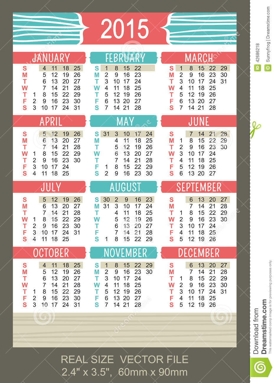 Pocket Calendar 2015, Vector, Start On Sunday Stock Vector - Image ...
