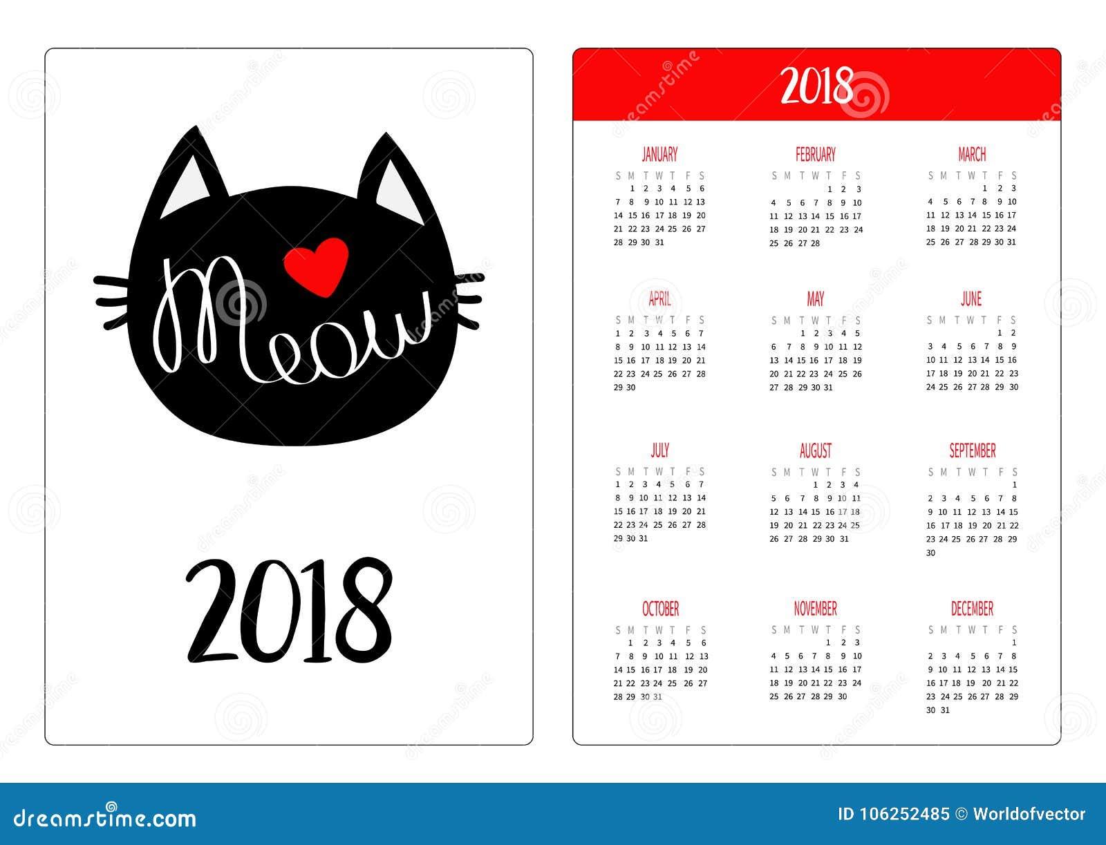pocket calendar 2018 year week starts sunday black cat