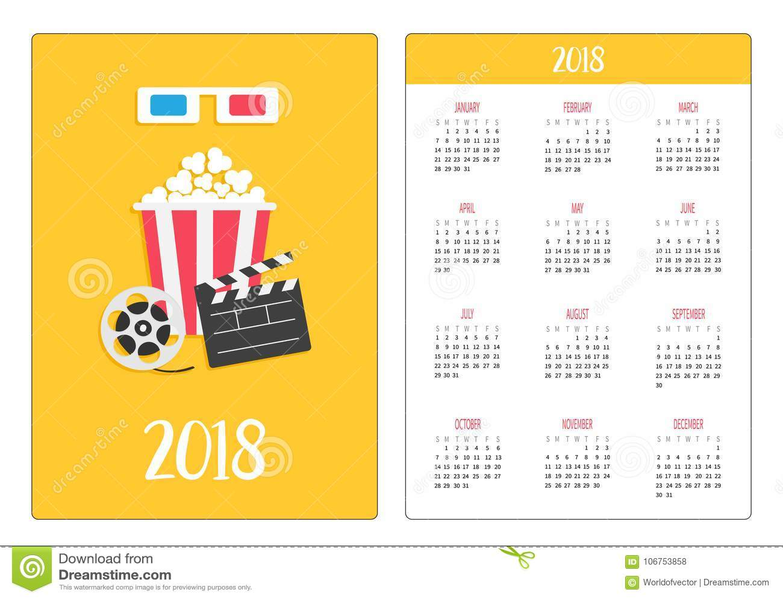 Pocket calendar 2018 year. Week starts Sunday. 3D paper red blue glasses. Open clapper board Movie reel Popcorn Cinema Movie icon