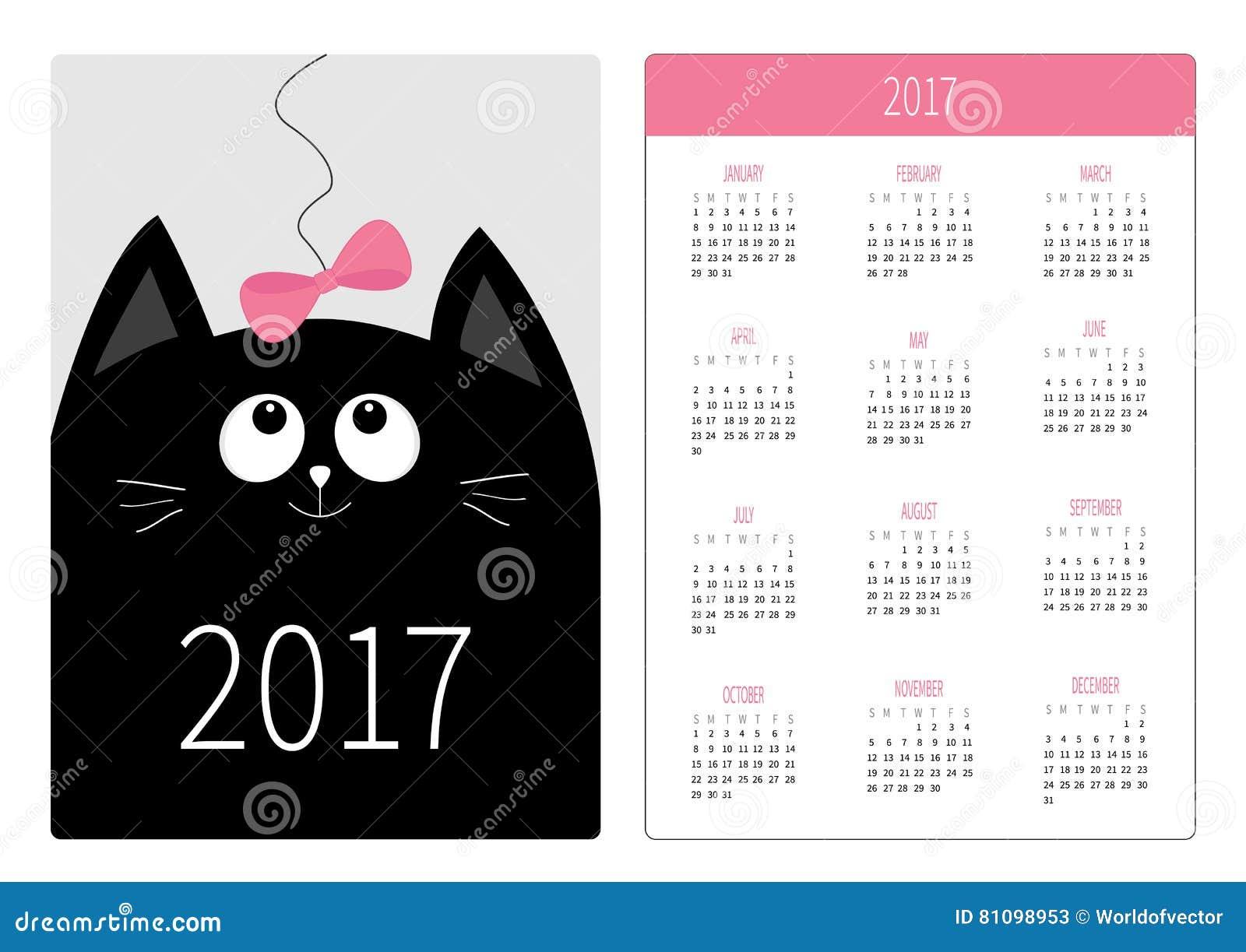 Calendar Design Tutorial : Vertical pocket calendar for year cartoon vector