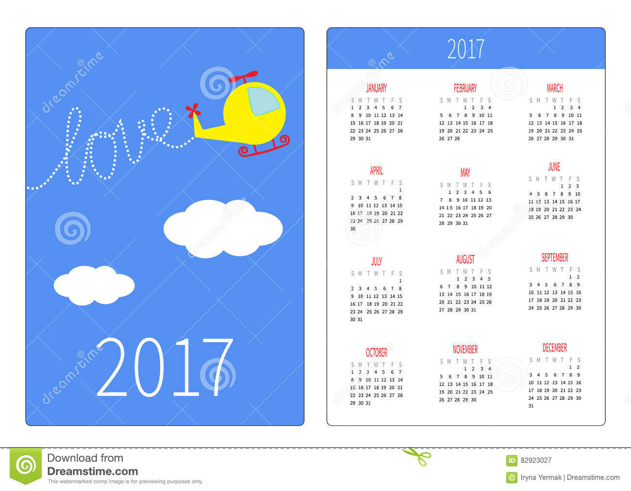 Pocket Calendar 2017 Year Week Starts Sunday Flat Design Vertical Orientation Template Stock Vector Illustration Of Poster Cute 82923027