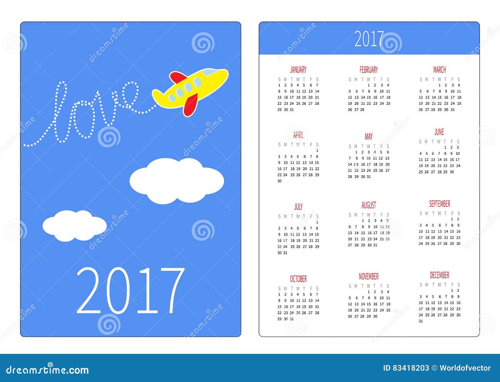 Pocket Calendar 2017 Year. Week Starts Sunday. Flat Design Vertical ...