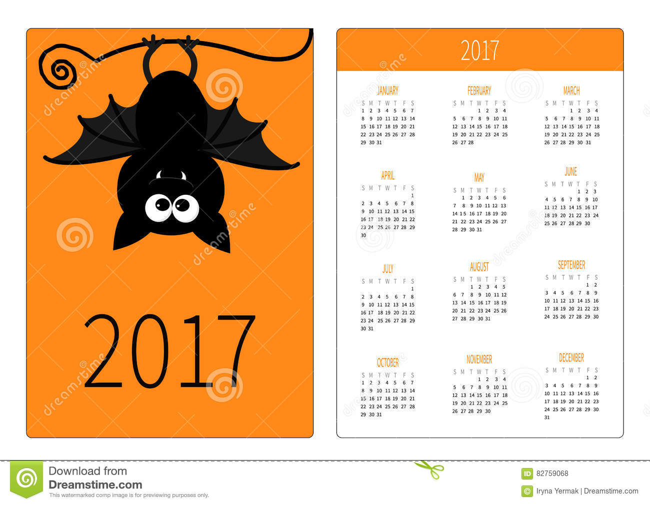 Flat Design Vertical Orientation Template Cute Cartoon Hanging Bat Happy Halloween Symbol Orange Background Vector Illustration
