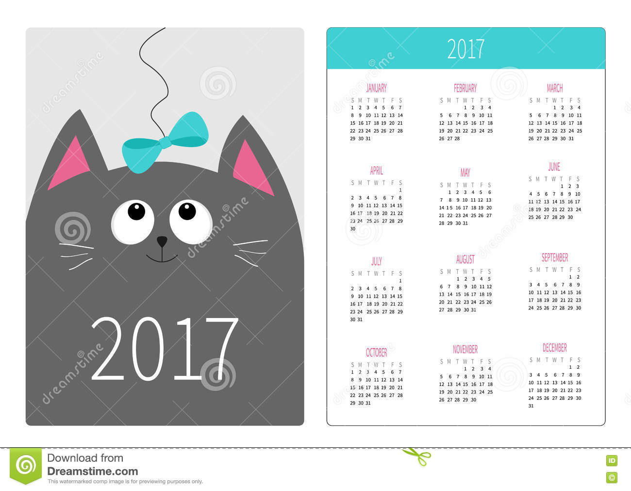 Calendar Head Design : Pocket calendar year week starts sunday stock