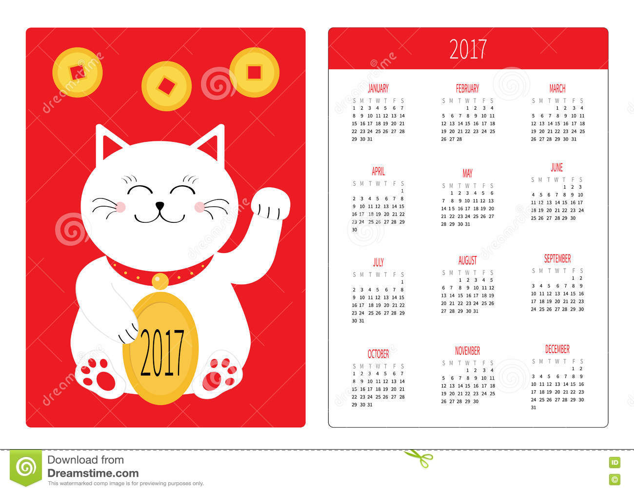 pocket schedule template - pocket calendar 2017 year week starts sunday flat design