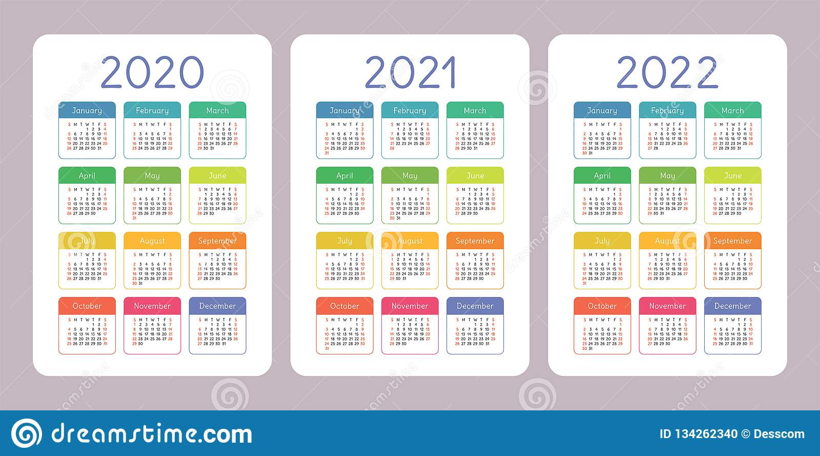Calendar 2020, 2021, 2022 years. Vertical vector calender design template. Colorful set. Week starts on Sunday