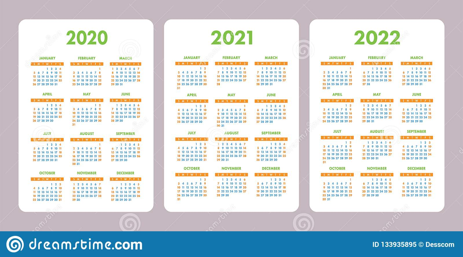 Pocket Calendar 2020, 2021, 2022 Years. Vertical Vector Calender