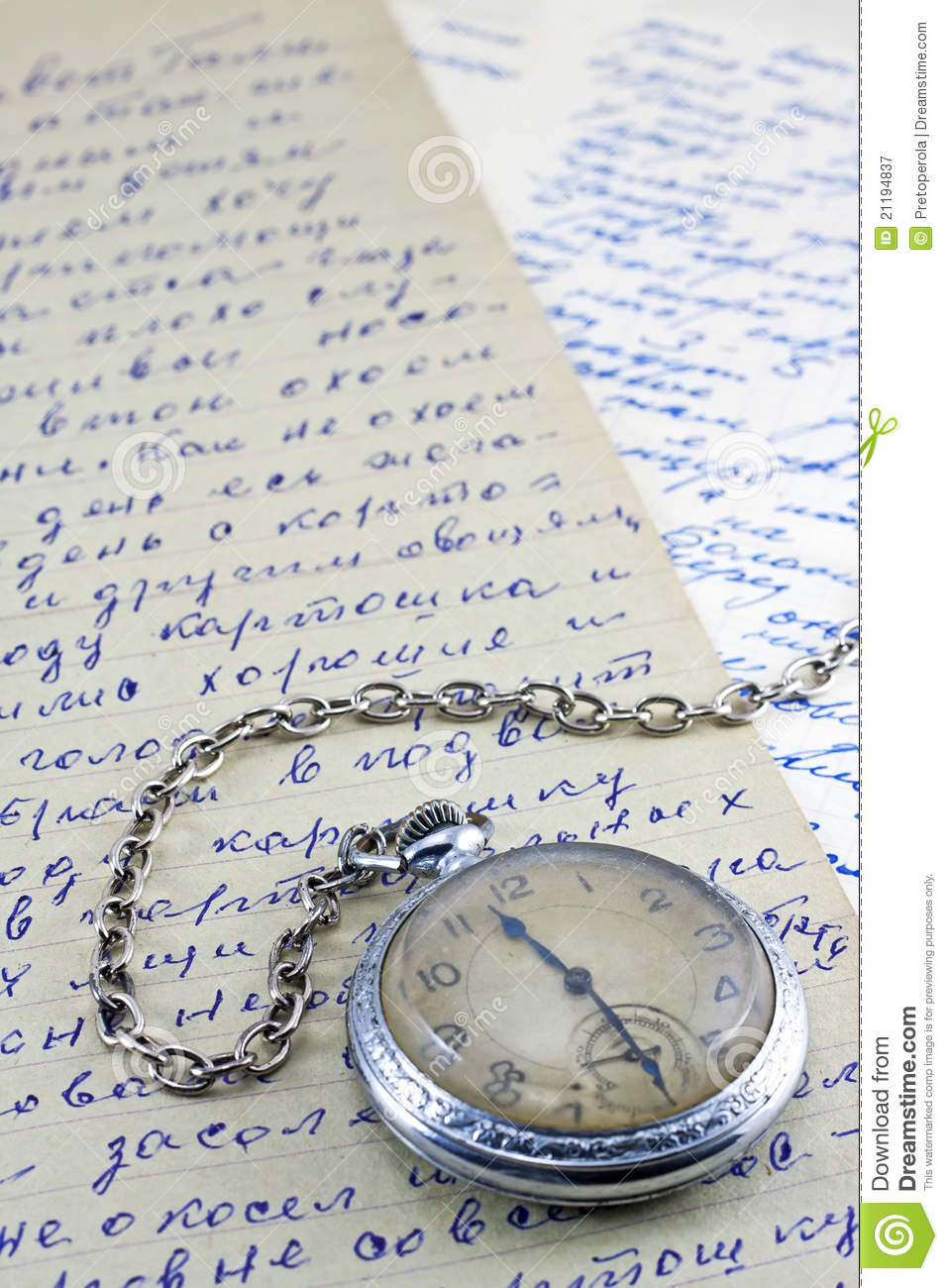 Pocket clock and old letters