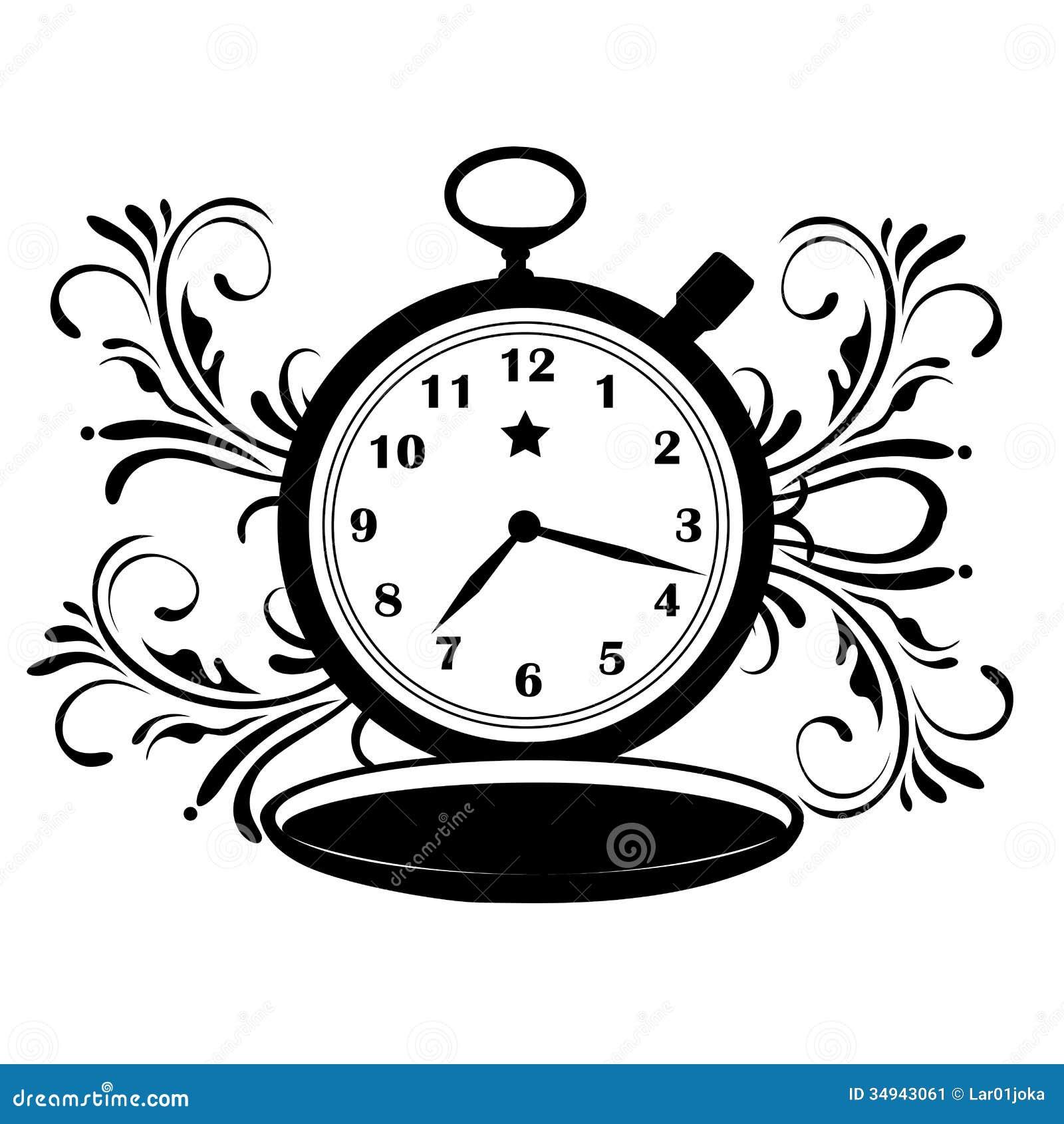 Pocket Clock With Star Stock Illustration Illustration Of