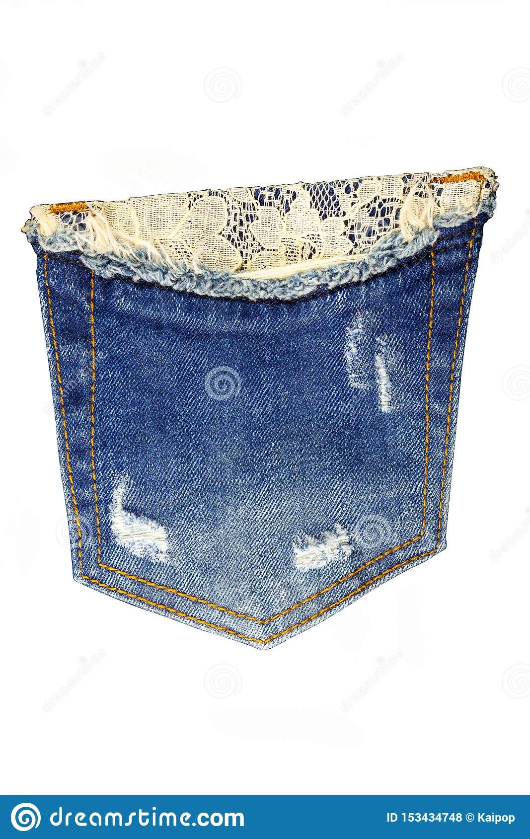 Pocket jeans on a white background