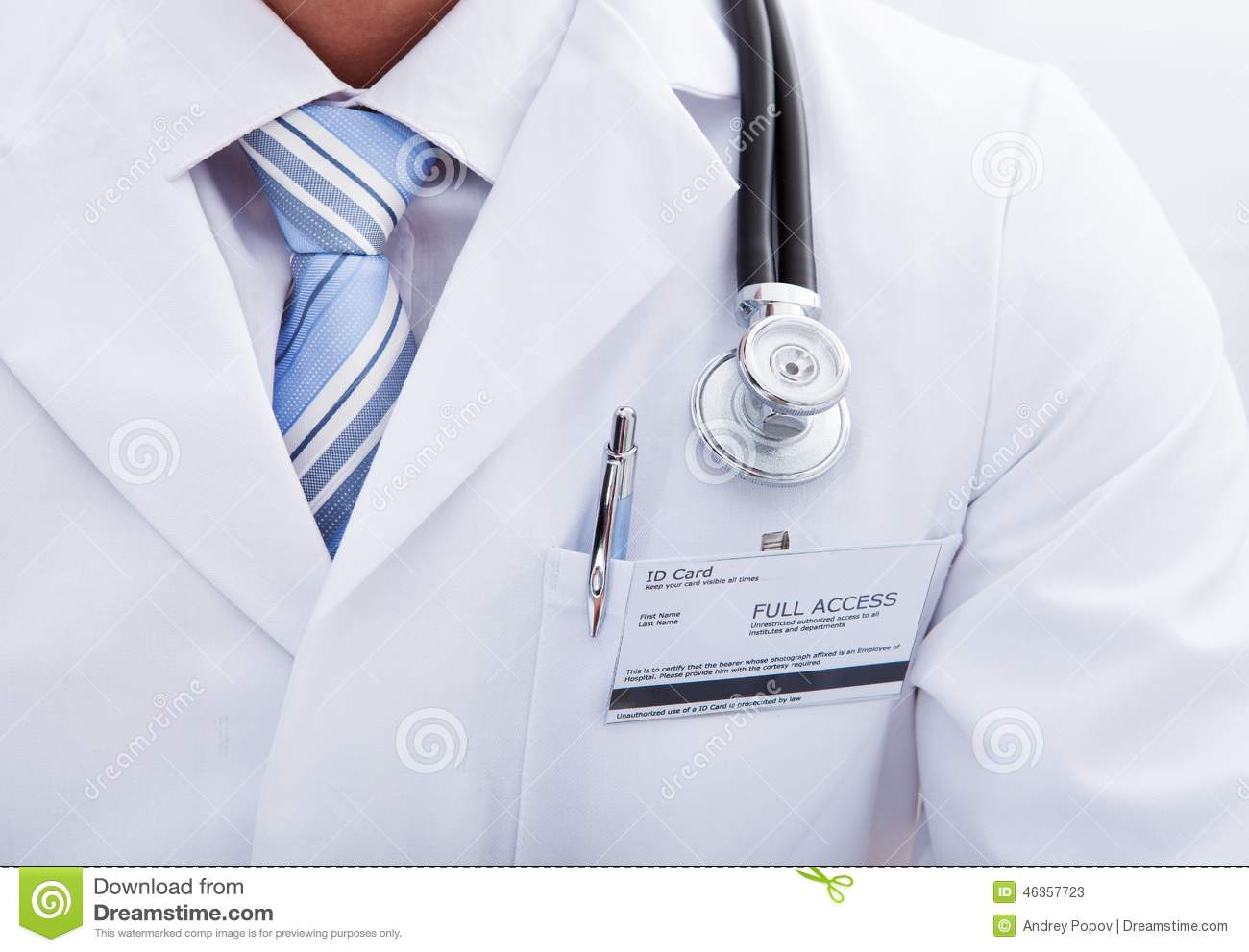 Pocket On A Lab Coat With A Doctors Id Tag And Pen Stock