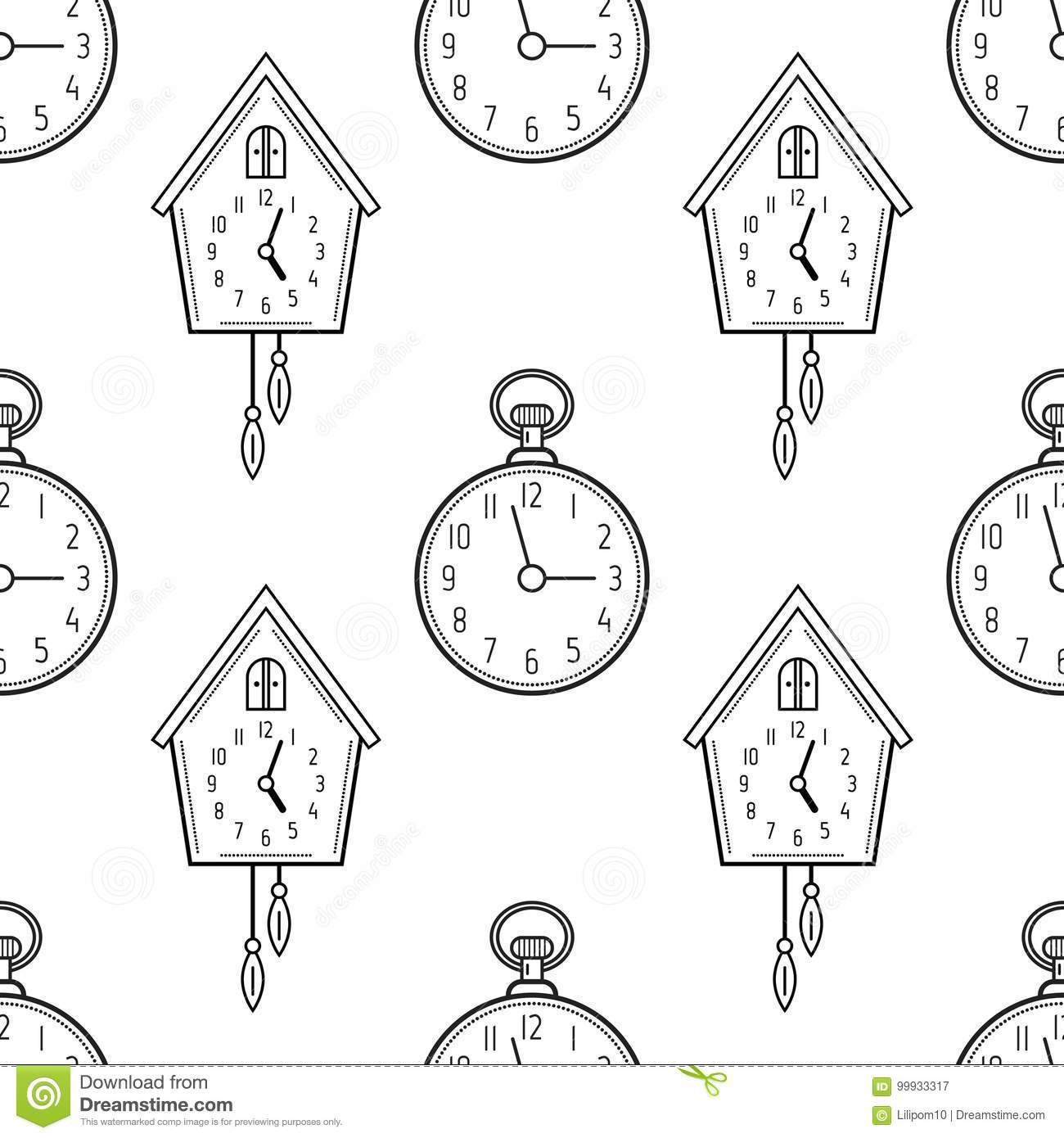 Pocket Watch And Cuckoo Clock Black White Seamless Pattern For Coloring Books Pages Vector Illustration