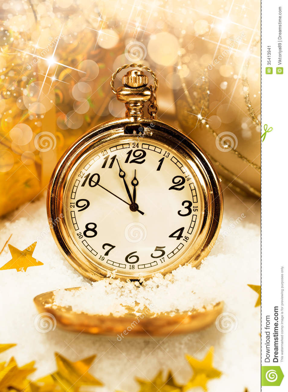 Pocket Watch Showing Five Minutes To Midnight Stock Image