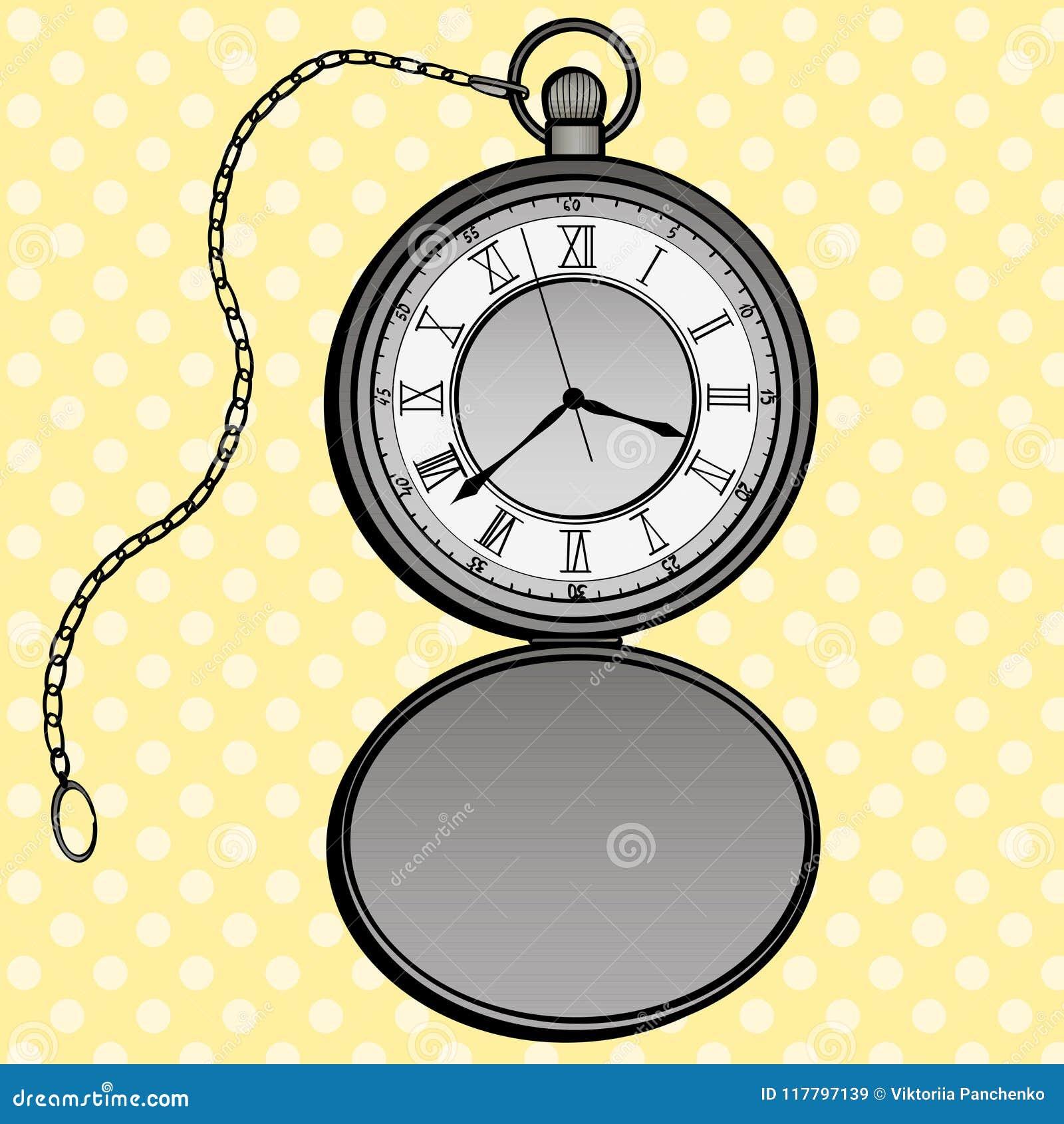 Pocket Watches Pop Art Design Vector. Clock Separate Objects. Timer ...