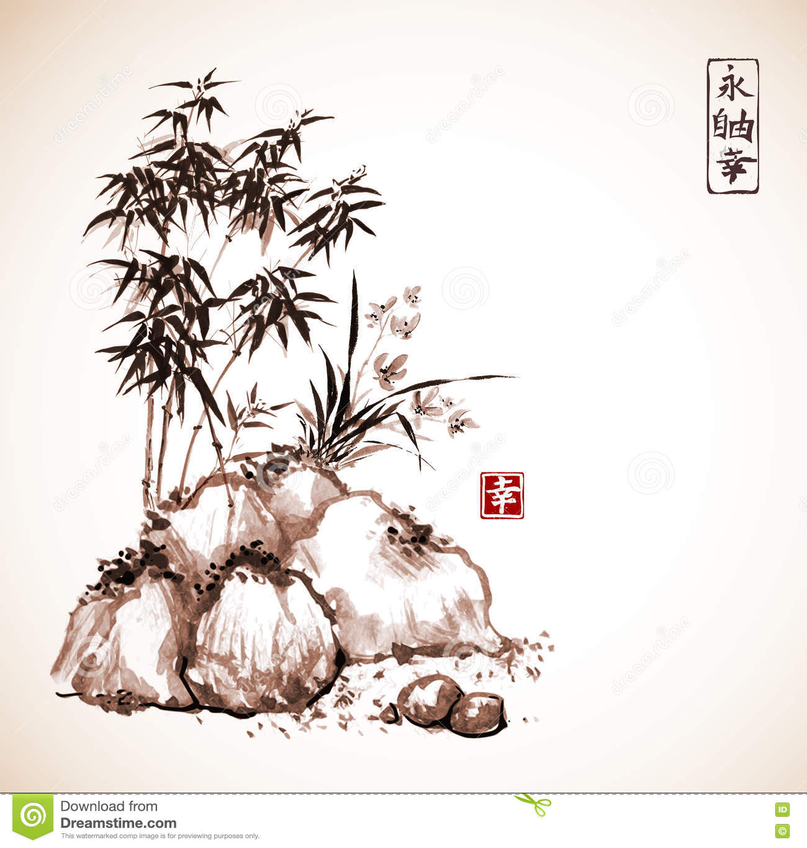 Poco árbol de bambú y orquídea salvaje en rocas