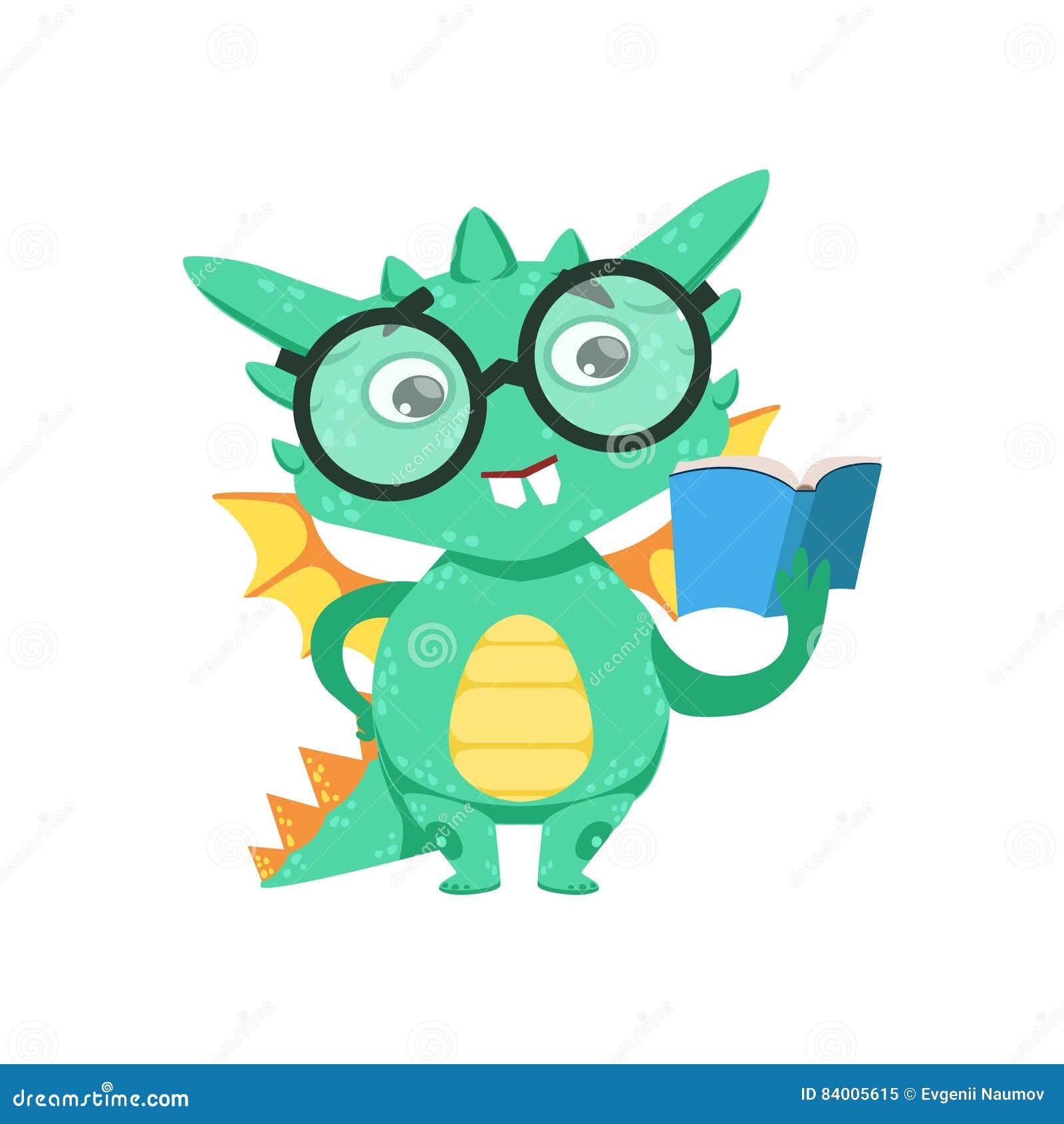 Poco Bebé Elegante Dragon Reading Del Ratón De Biblioteca Del Estilo