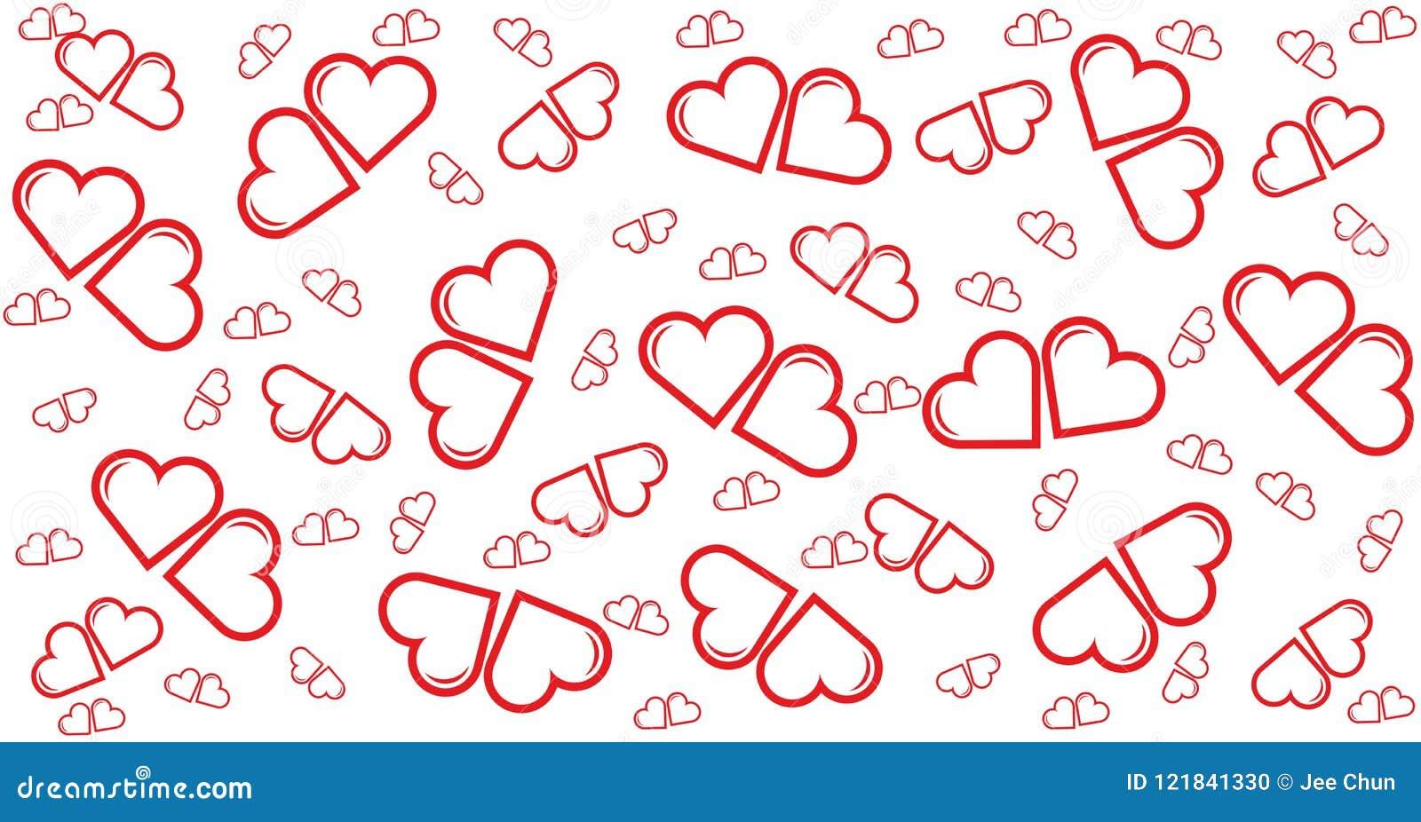 Poco corazón rojo de los pares, tarjeta, modelo, plantilla para la felicidad