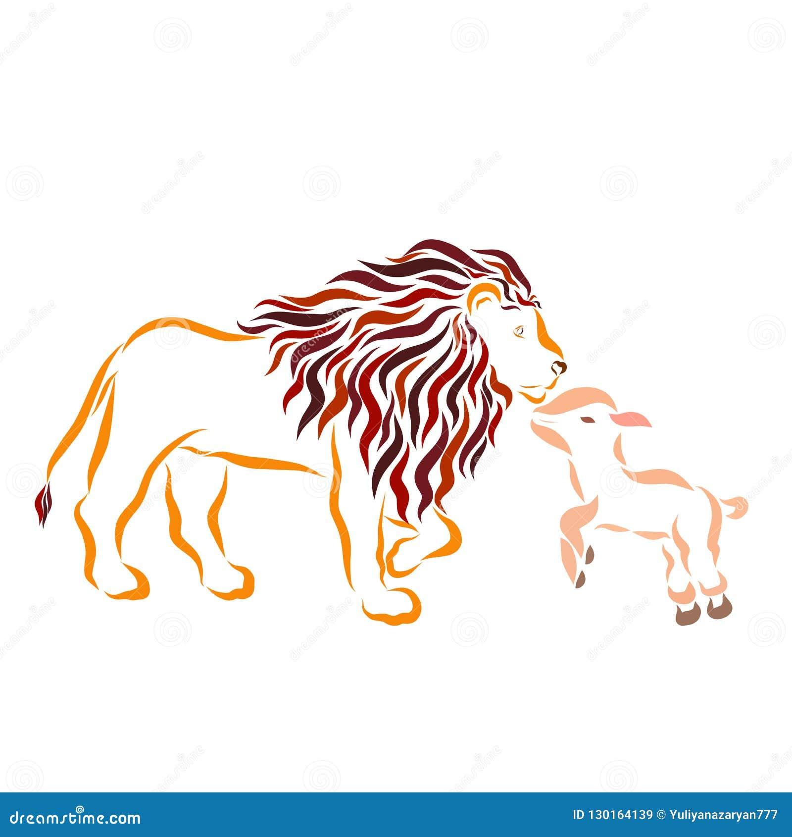 Poco cordero y león bueno fuerte grande