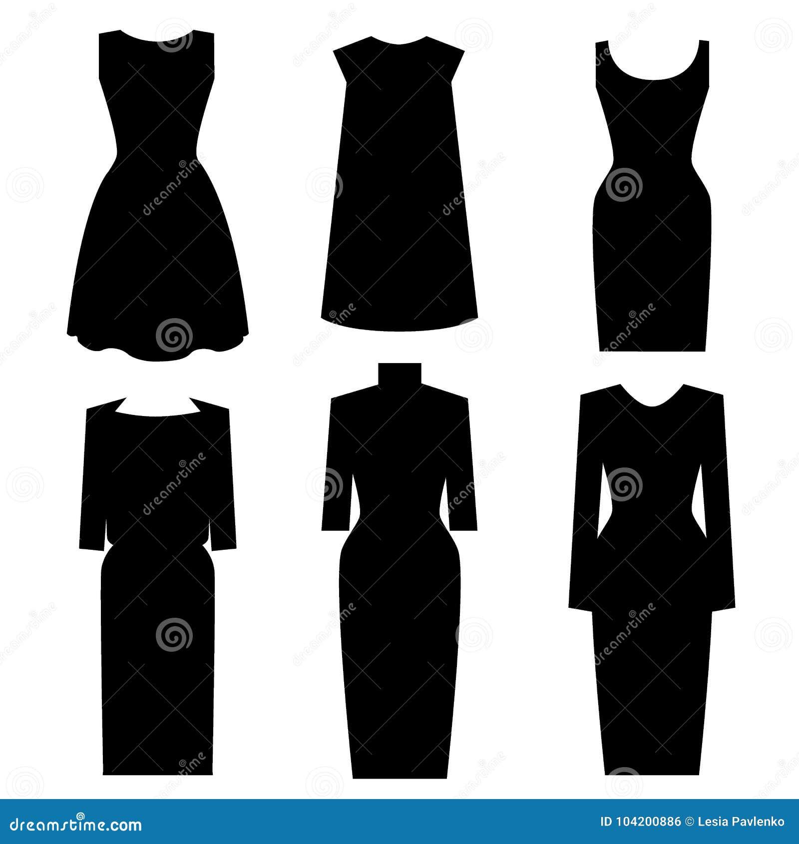 Poco Diseños Negros Del Vestido Sistema Del Vector