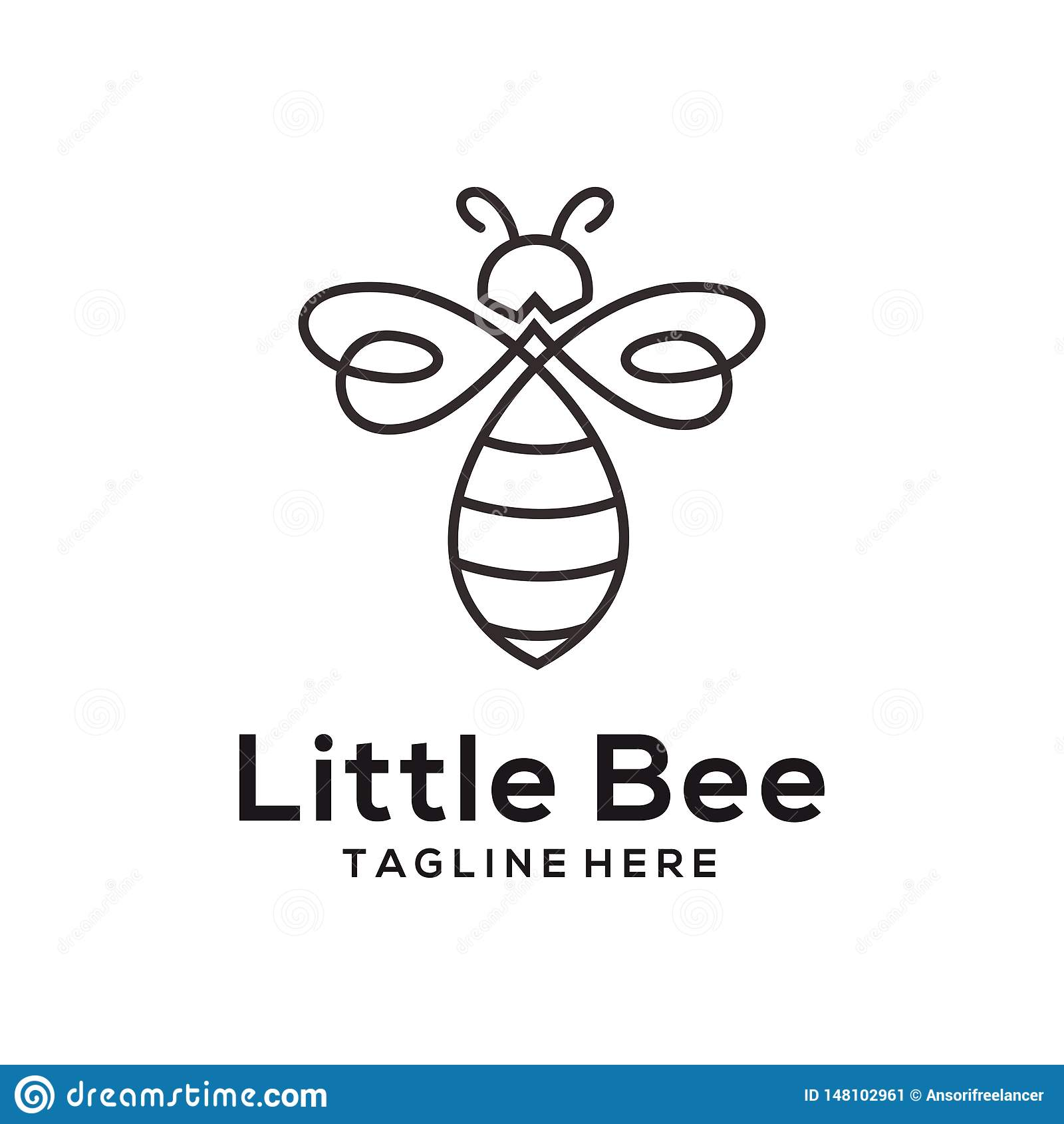 Poco logotipo de la abeja y dise?o animales del icono