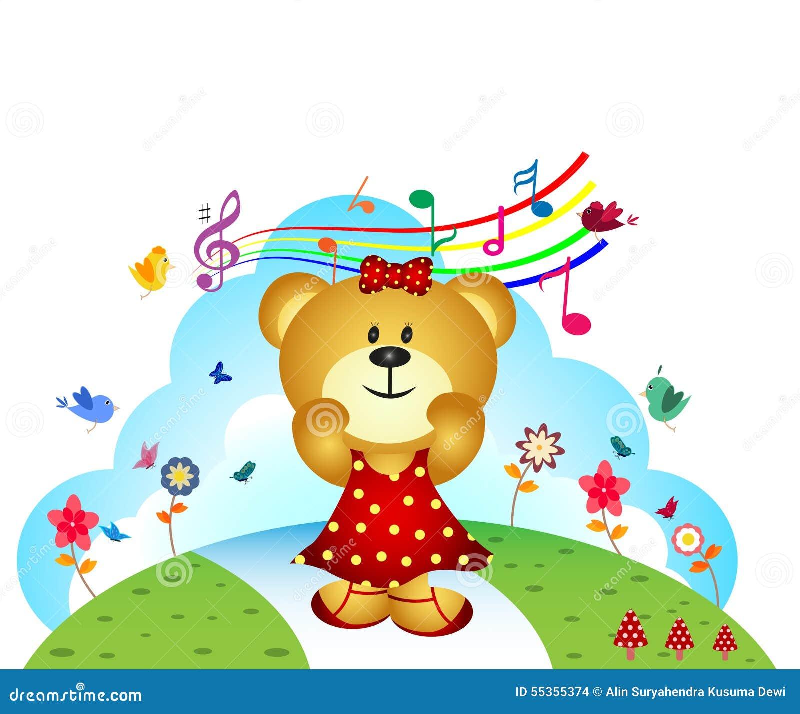 Poco orso canta una canzone al giardino