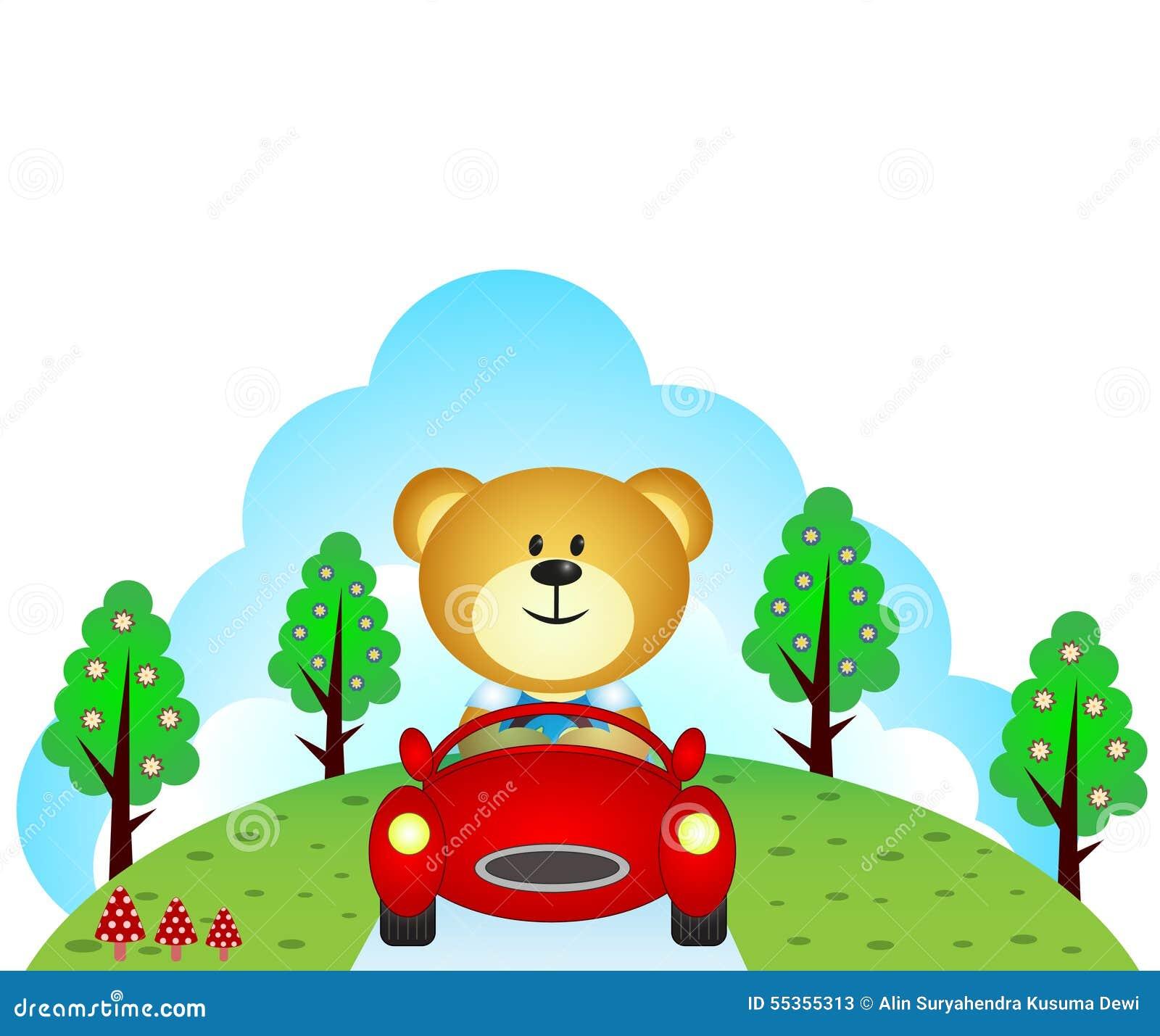 Poco orso che conduce un automobile
