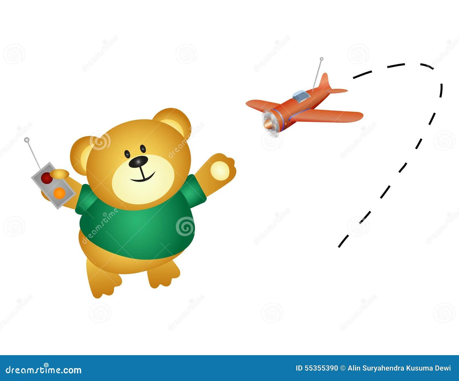 Poco orso che gioca con il suo telecomando dell aeroplano
