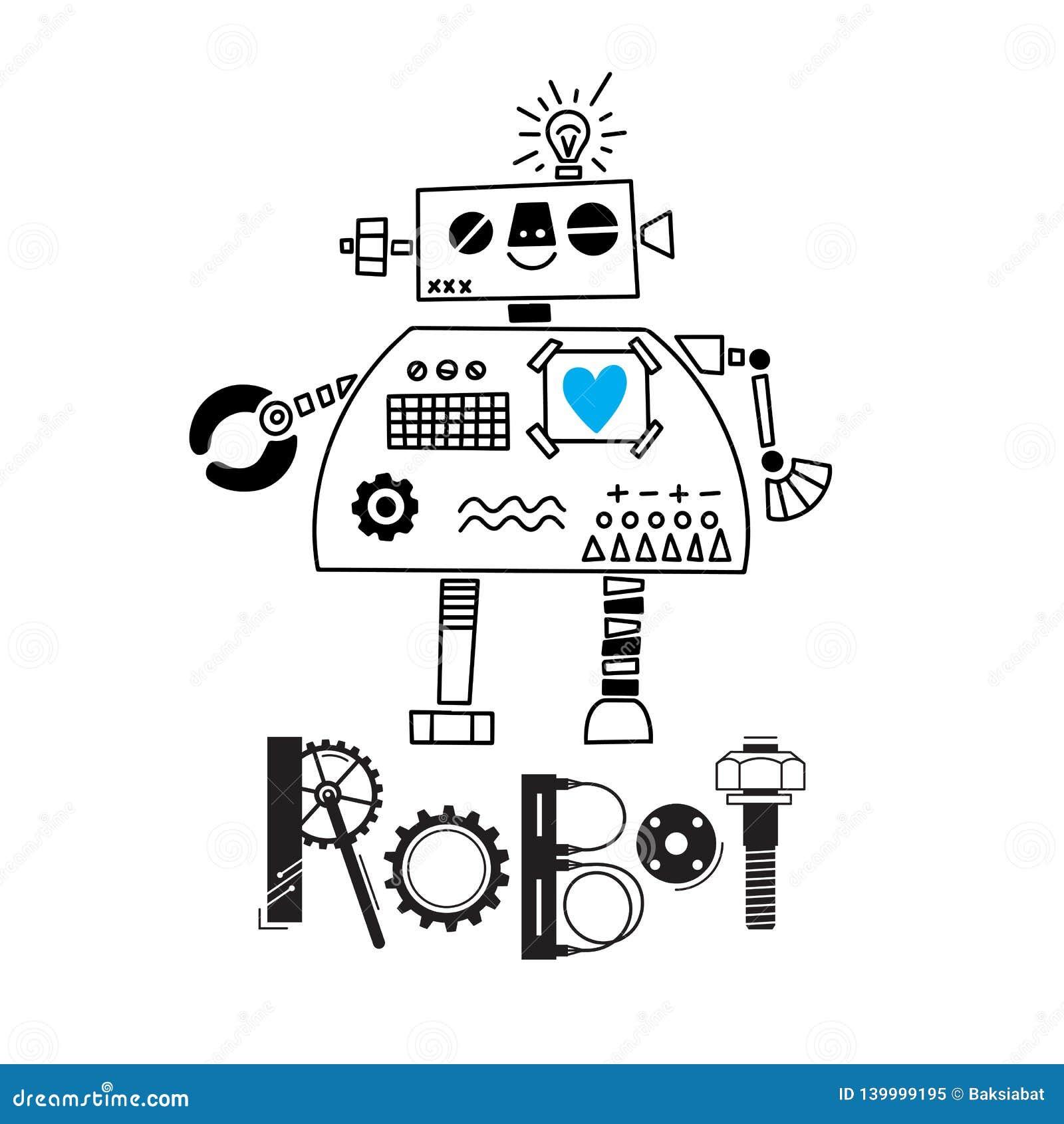 Poco robot lindo y la inscripción de los detalles y de los engranajes Ilustración del vector