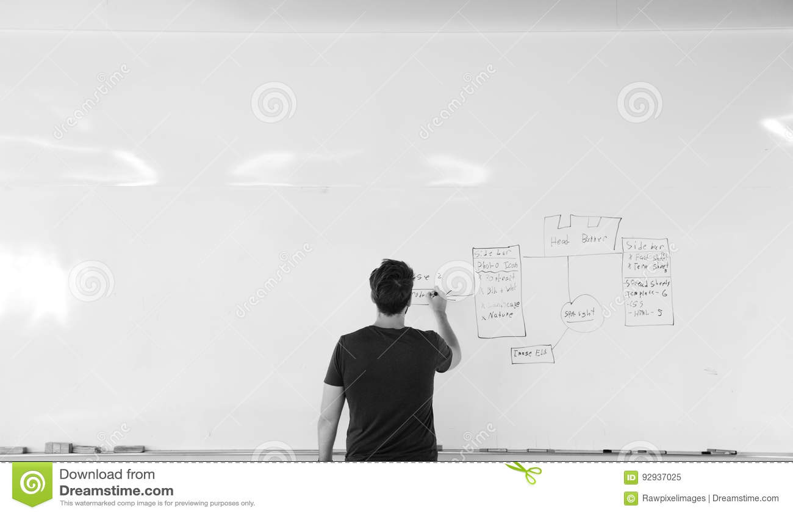 Początkowi ludzie biznesu Pisze na Białej deski udzielenia Planować