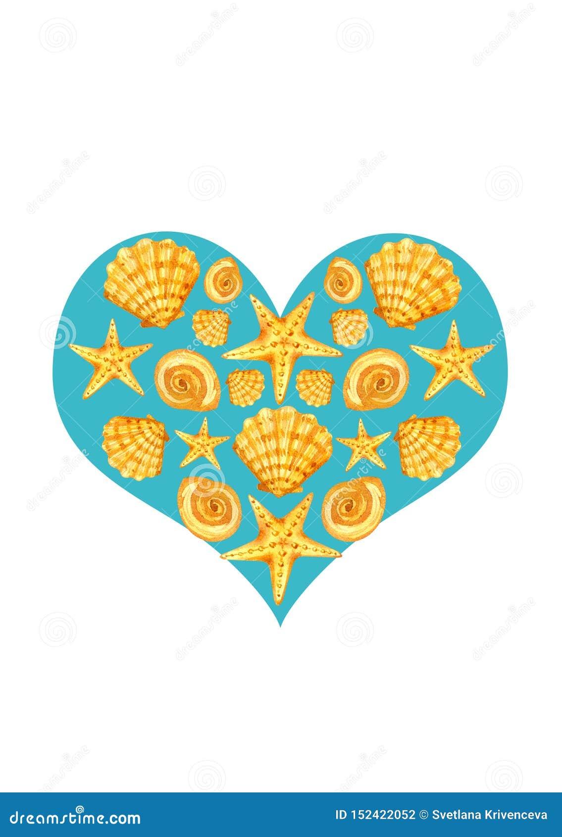 Pocztówkowy serce seashells