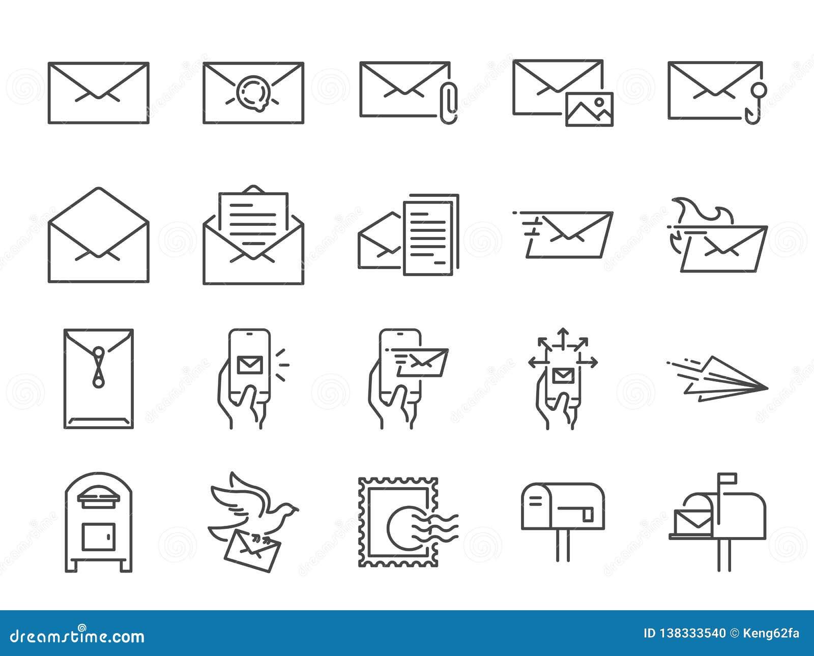 Poczta ikony kreskowy set Zawierać ikony jako email, gołąbka, koperta, wysyłali, poczty pudełko i bardziej