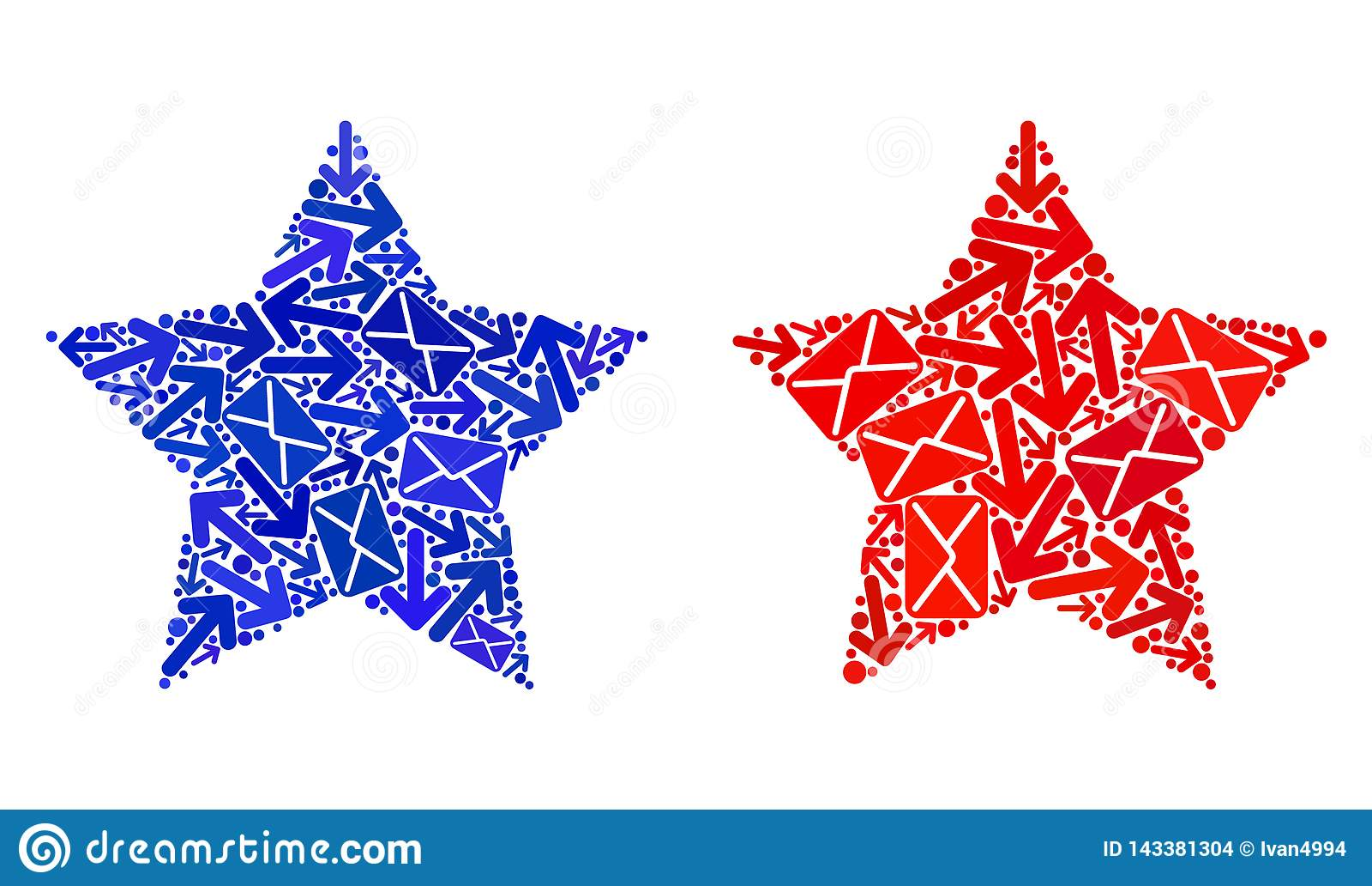 Poczta ruchu kolażu Red Star ikony