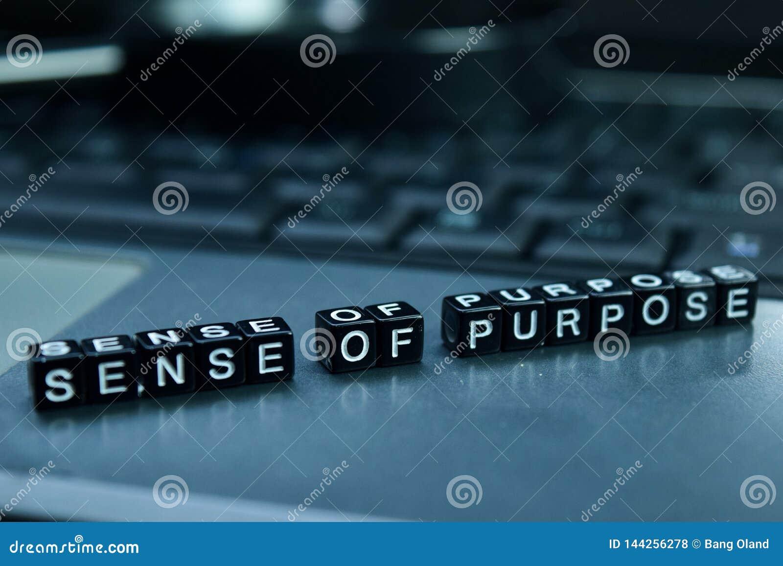 Poczucie Celowości teksta drewniani bloki w laptopu tle Biznesu i technologii pojęcie