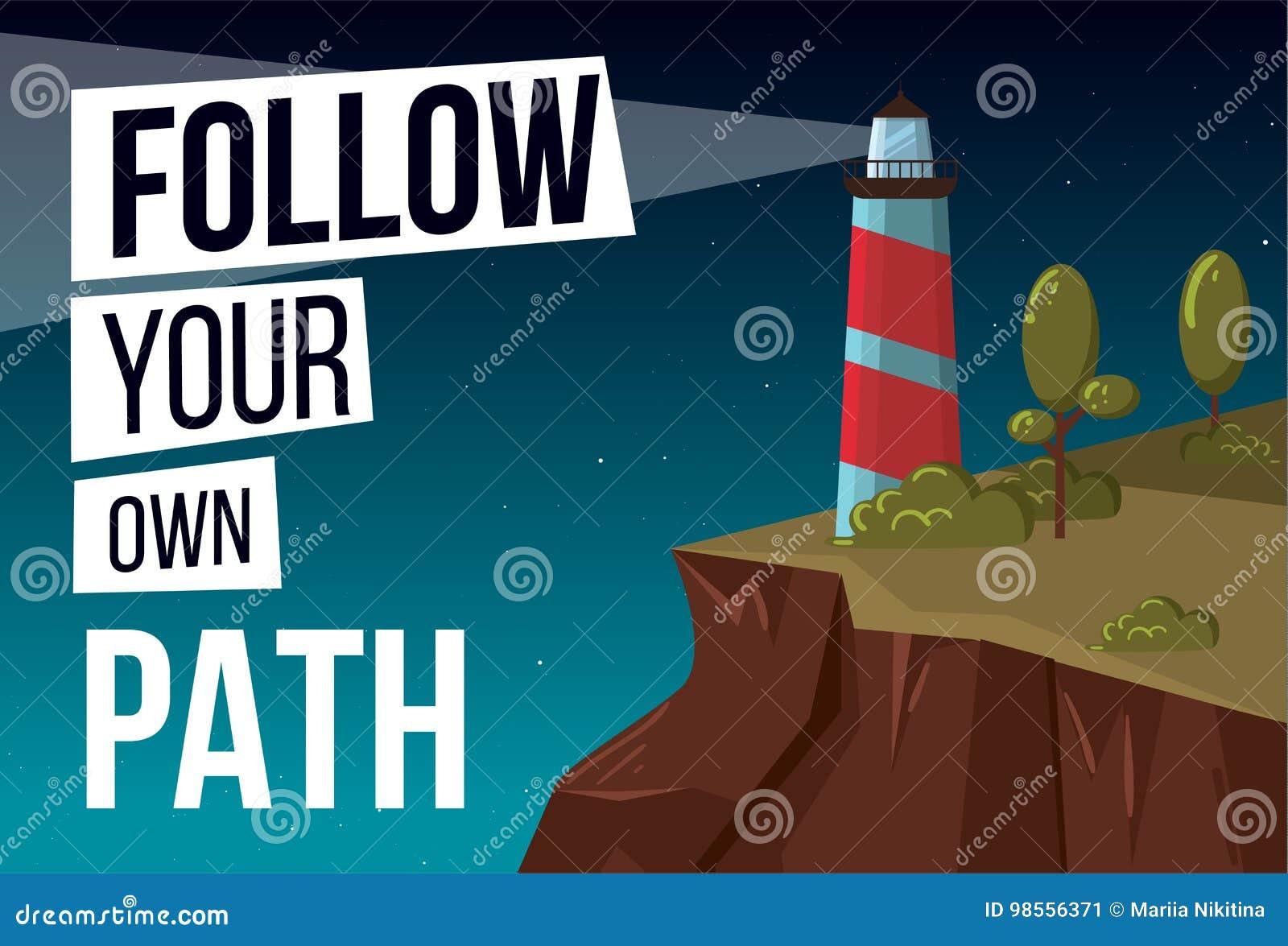 Podąża twój swój ścieżka wektorowego sztandar z latarnią morską