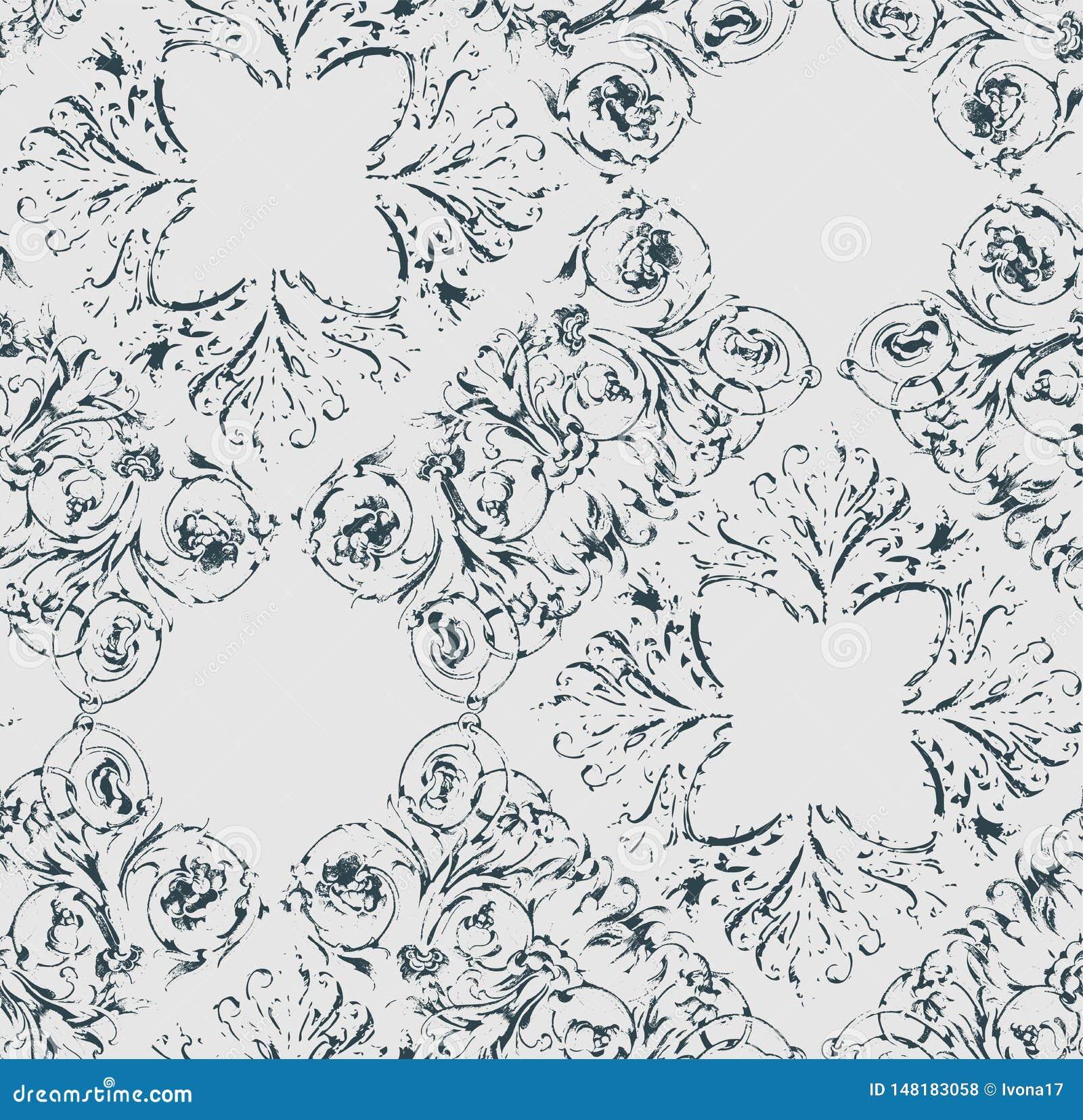 Podławego abstrakta adamaszka wiktoriański wzoru bezszwowy wektorowy wallpapper