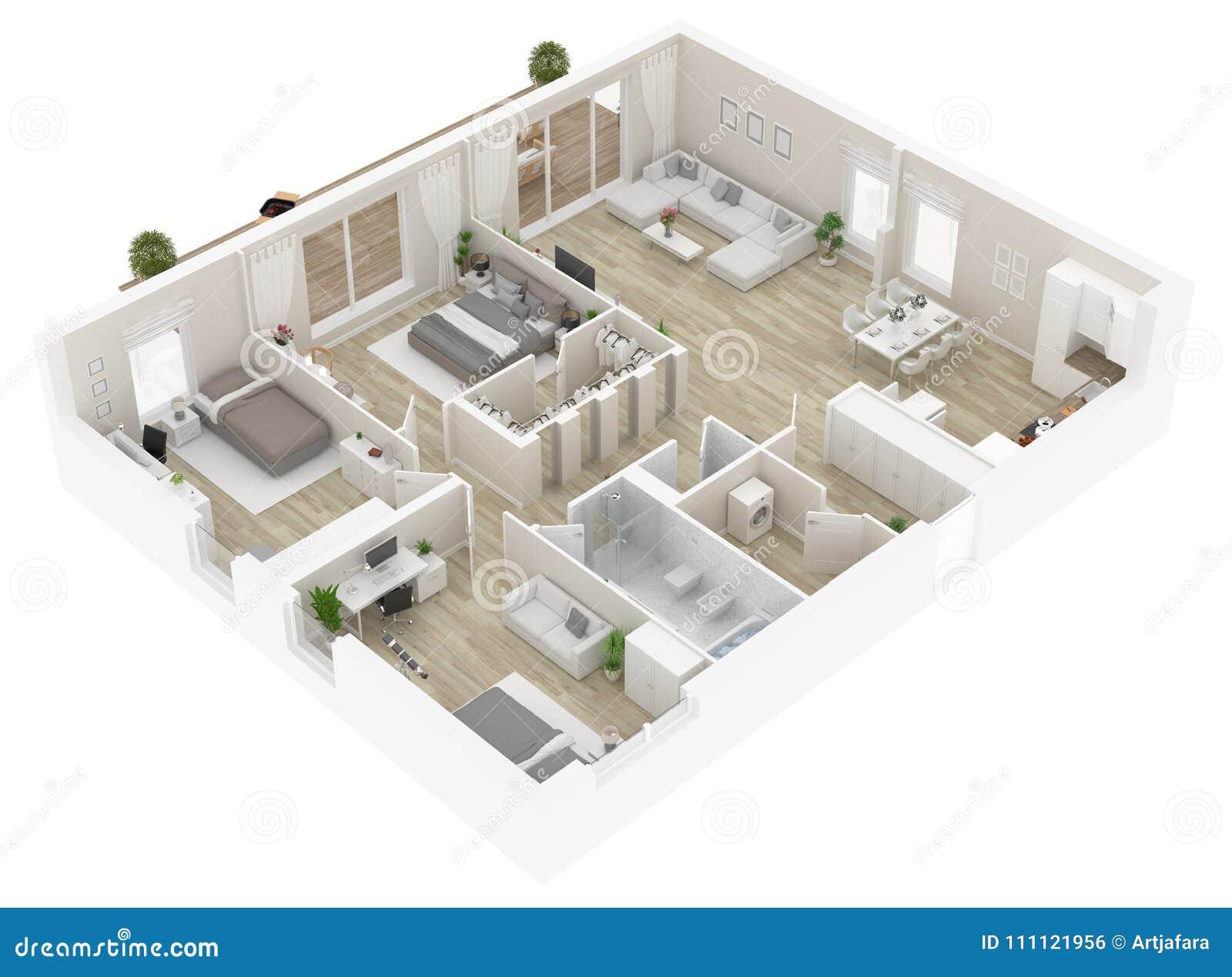 Podłogowy plan domowy odgórny widok Otwiera pojęcia mieszkania żywego układ