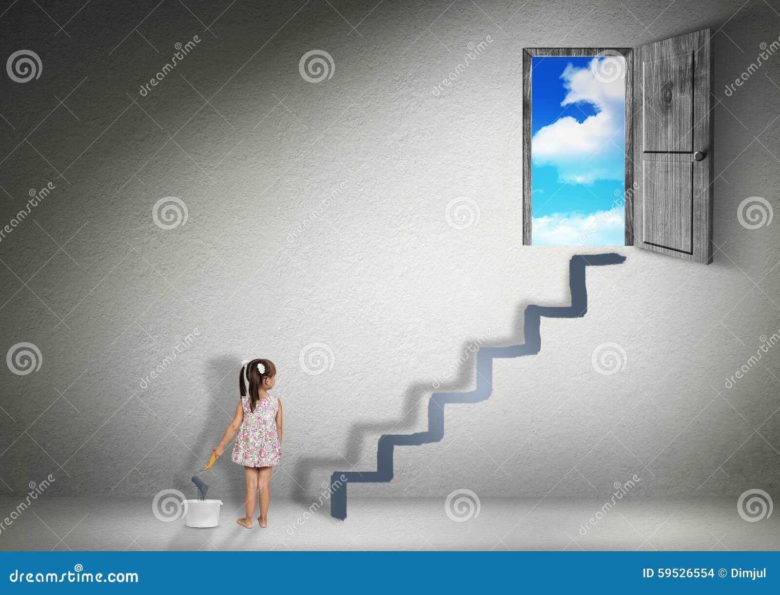 Podbija pojęcie, dziecko dziewczyny remisów schodki dla wyjścia