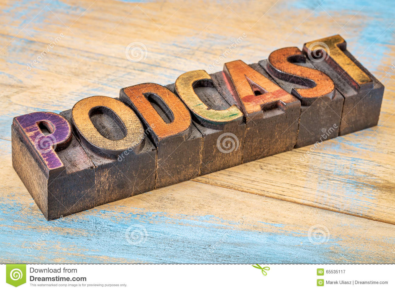 Podcast banner in wood type