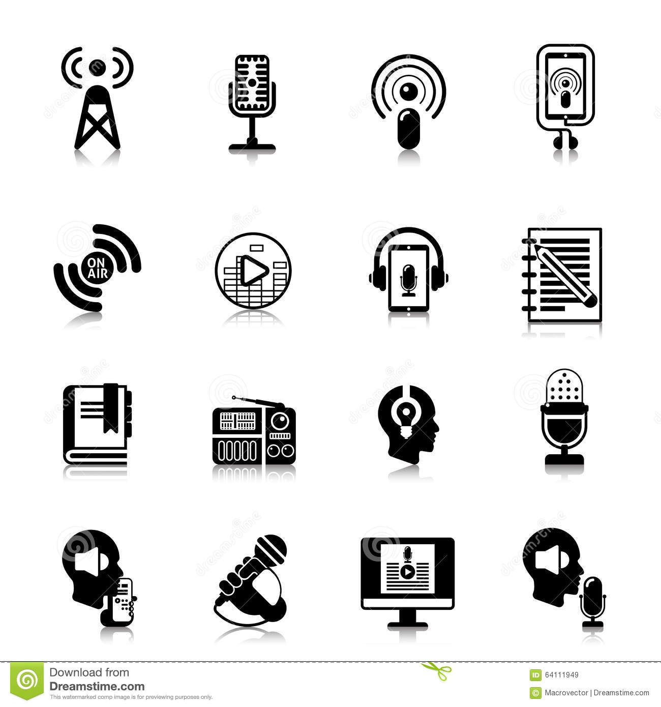 Podcast Black Icons Channel Concept Stock Vector Image
