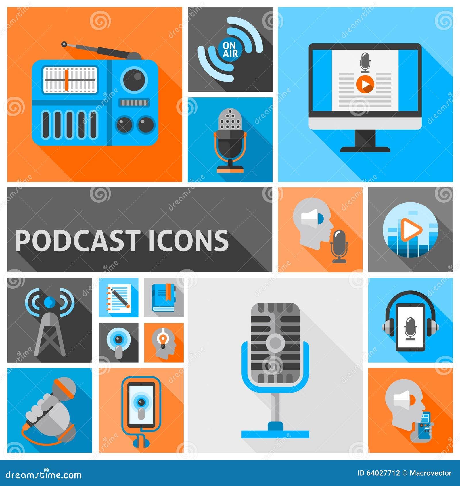 Itunes Radio Icon Vector Podcast Icons Flat Sto...
