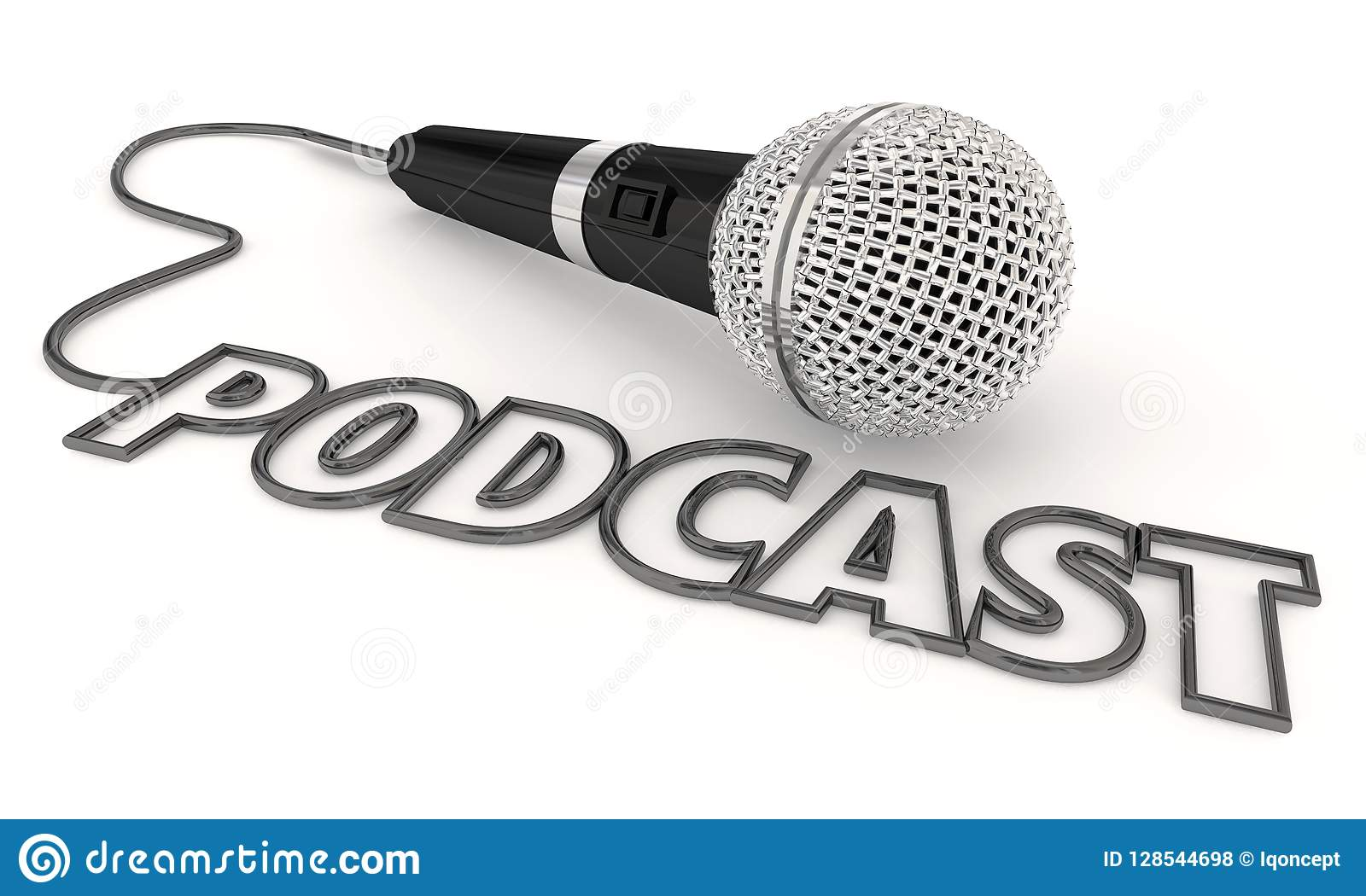 Podcast Mobile Program Show Audio File Microphone 3d Illustration