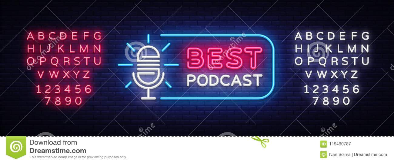 Podcast neon sign vector. Best Podcast Design template neon sign, light banner, neon signboard, nightly bright