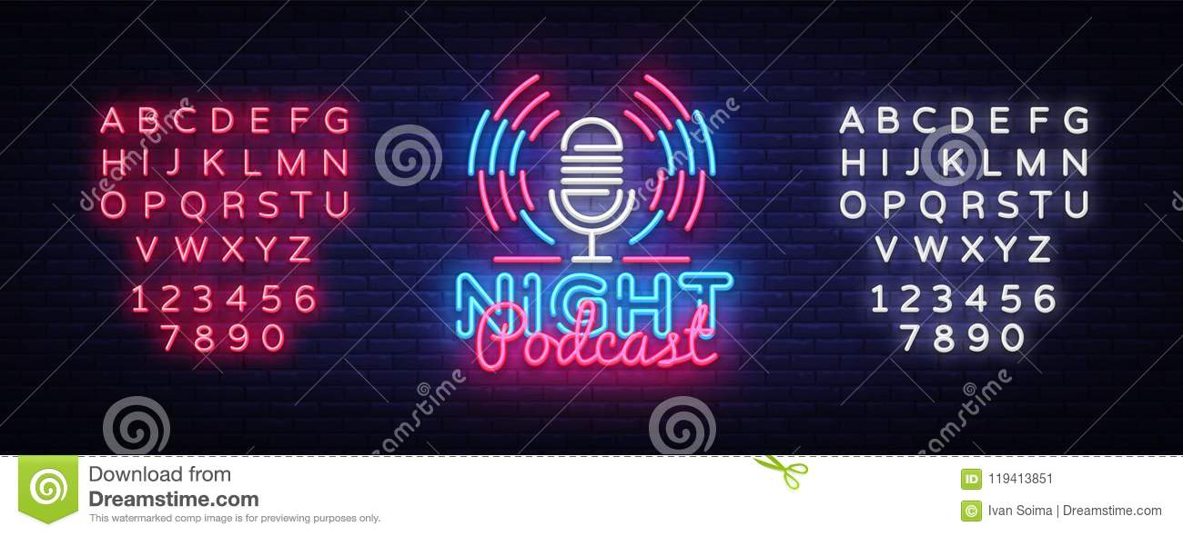 podcast neon sign vector night podcast design template neon sign