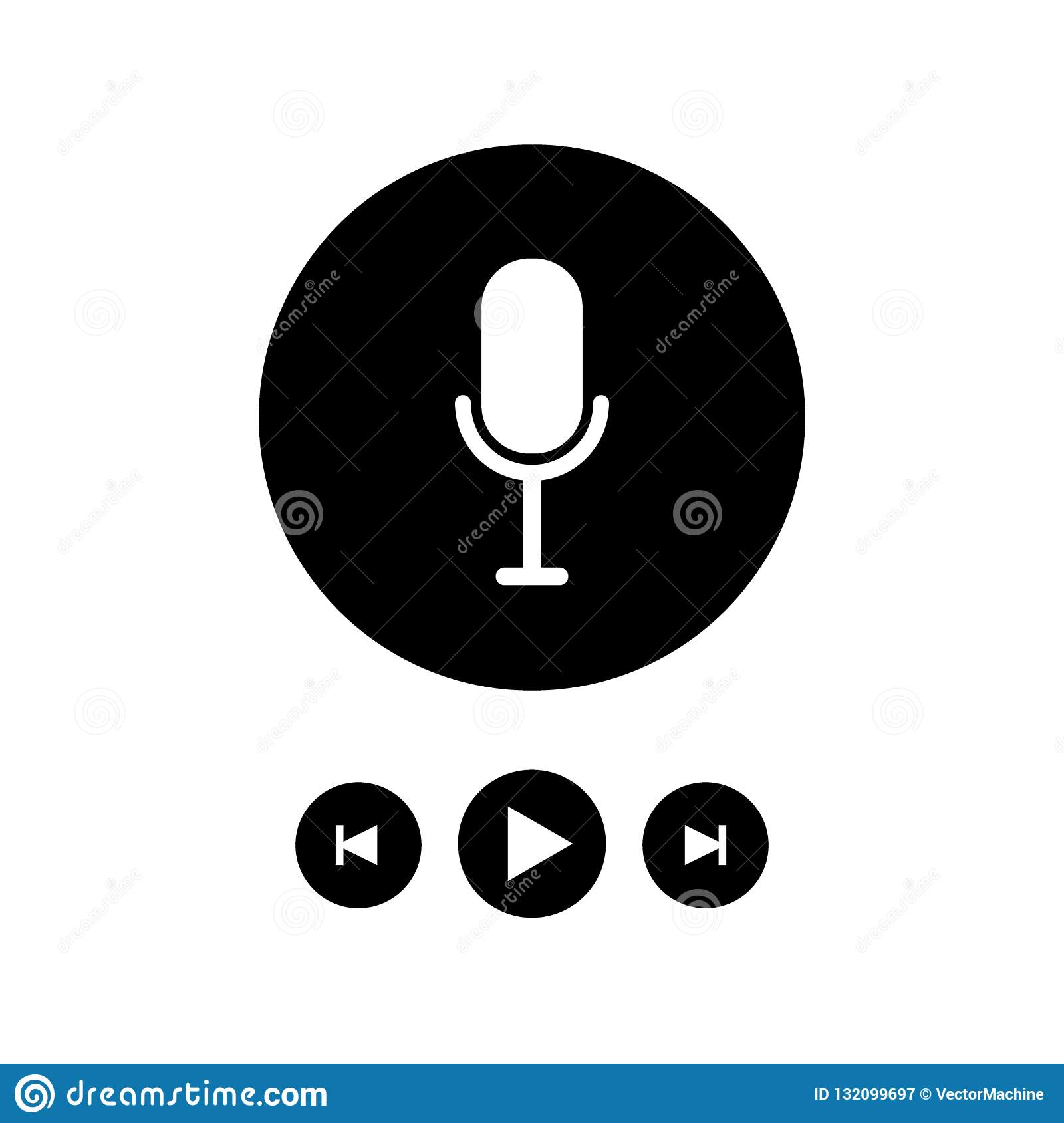 Podcast radio icon illustration set. Studio table microphone with broadcast text on air. Webcast audio record concept logo