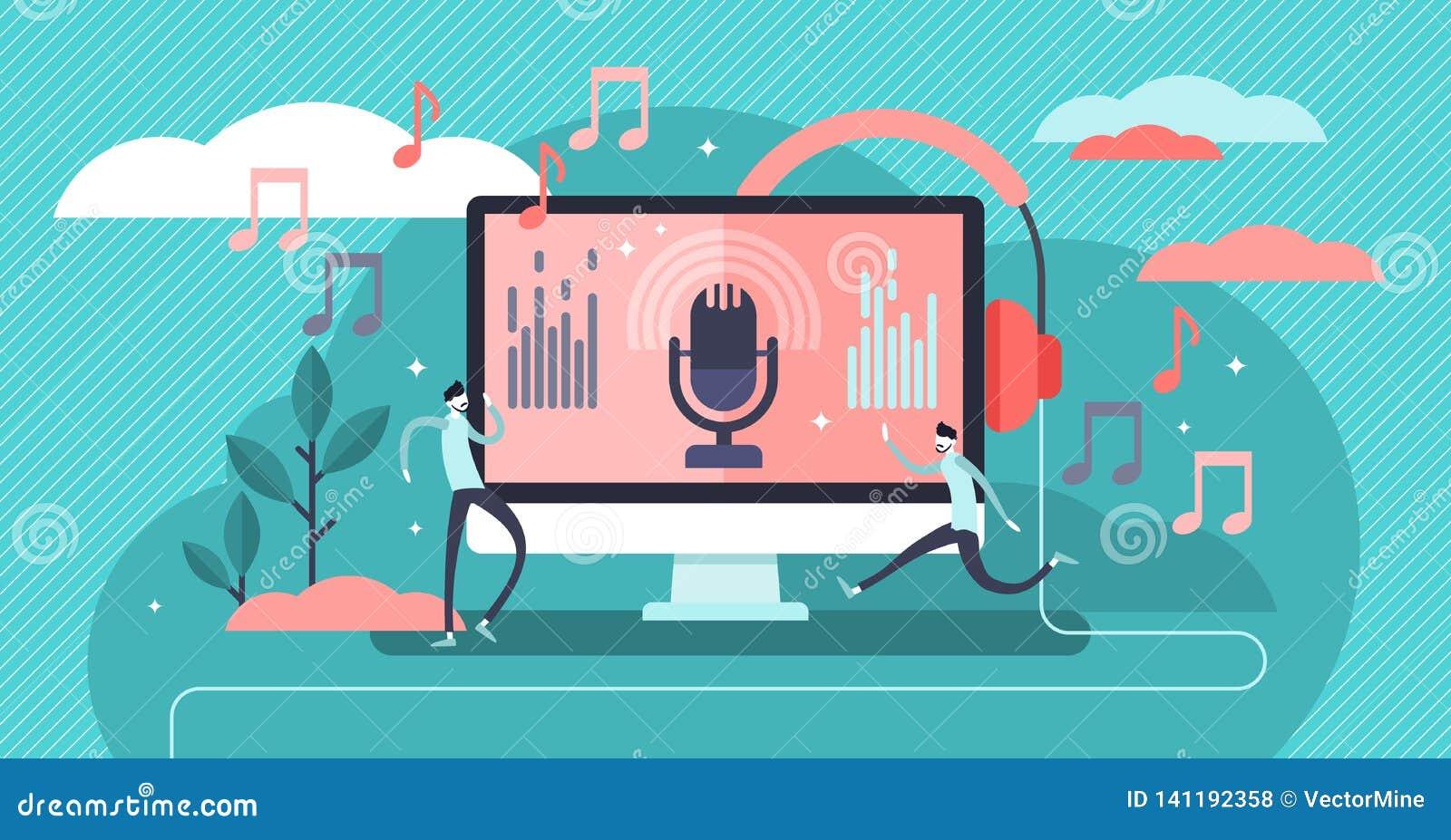 Podcast vector illustration. Flat tiny e-radio talk show persons concept.