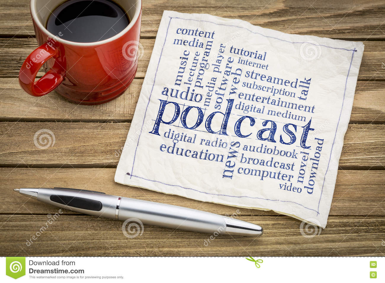 Podcast word cloud on napkin