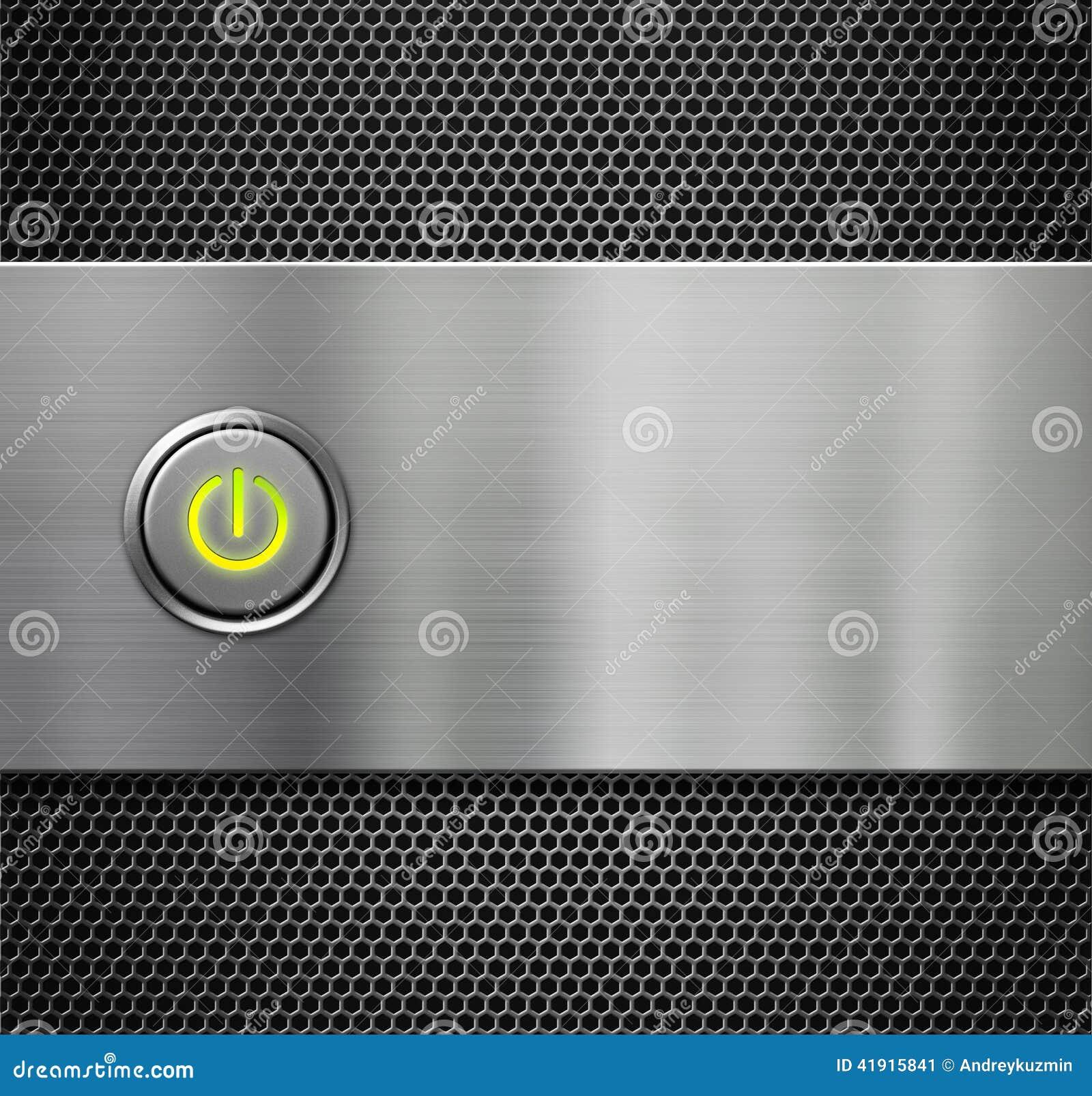 Poder o tecla de partida en la placa de metal