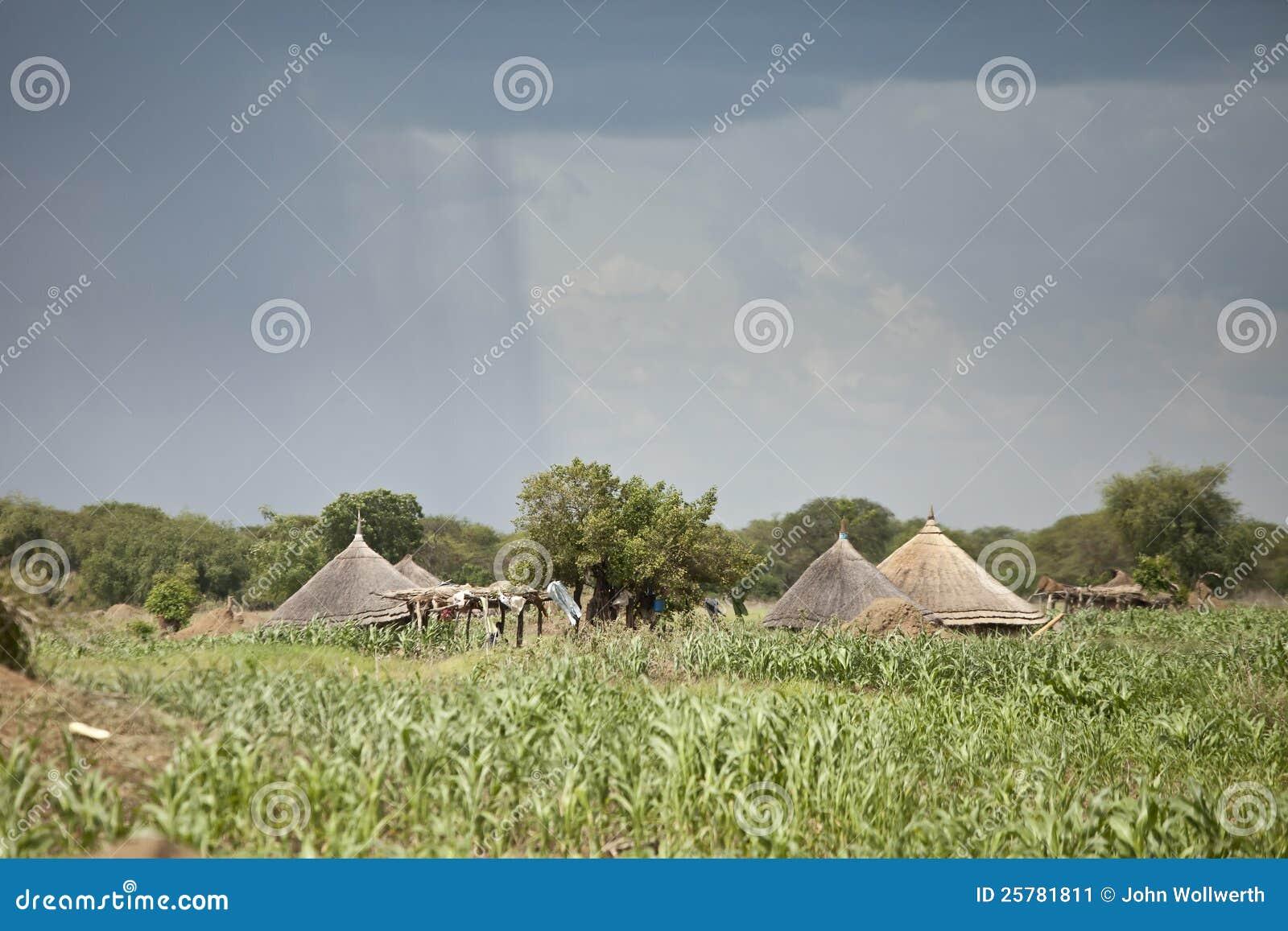 Podeszczowy spadać blisko bud w południowy Sudan