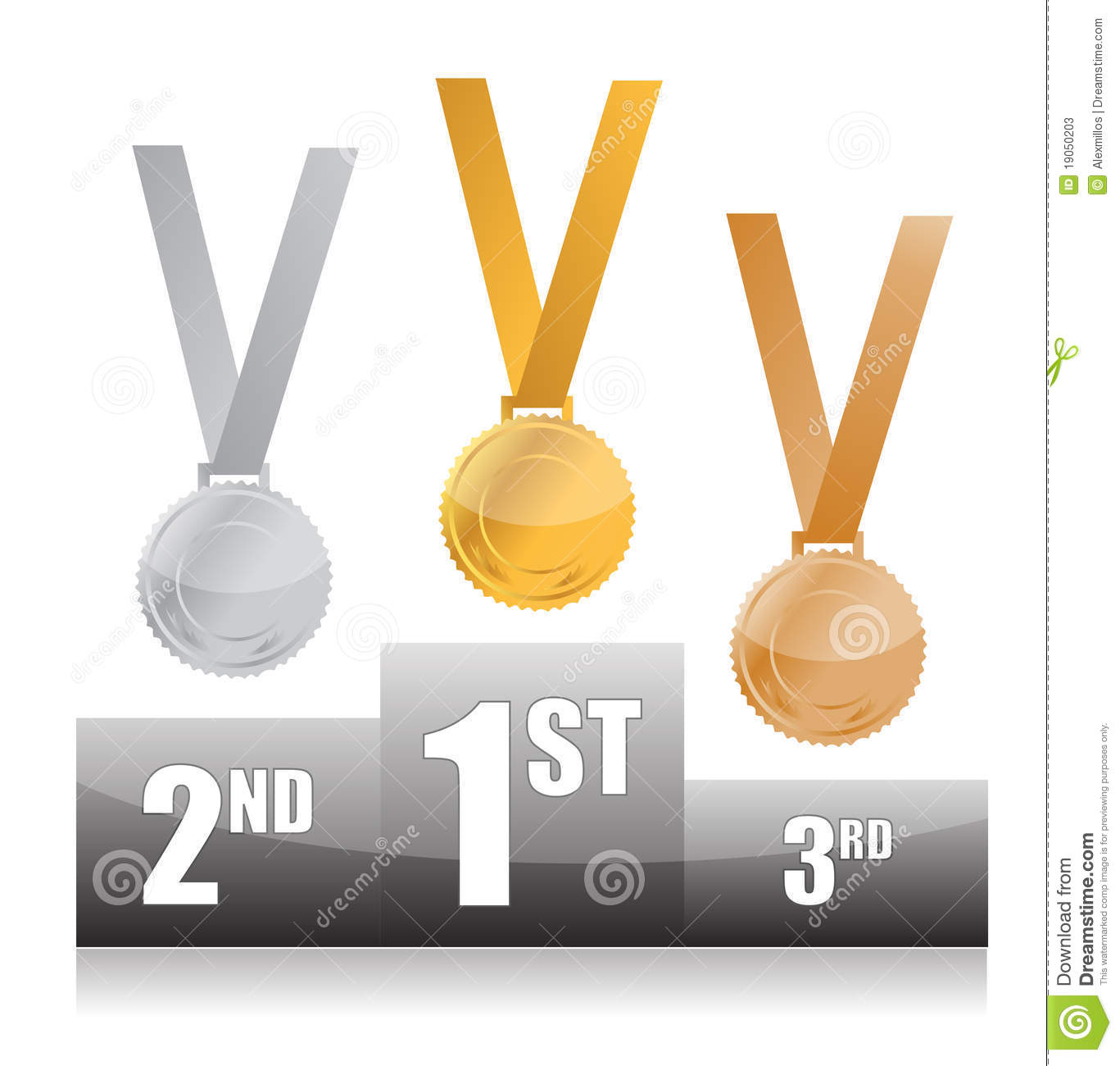 Podium with gold, silver and bronze medals isolated over a white ...